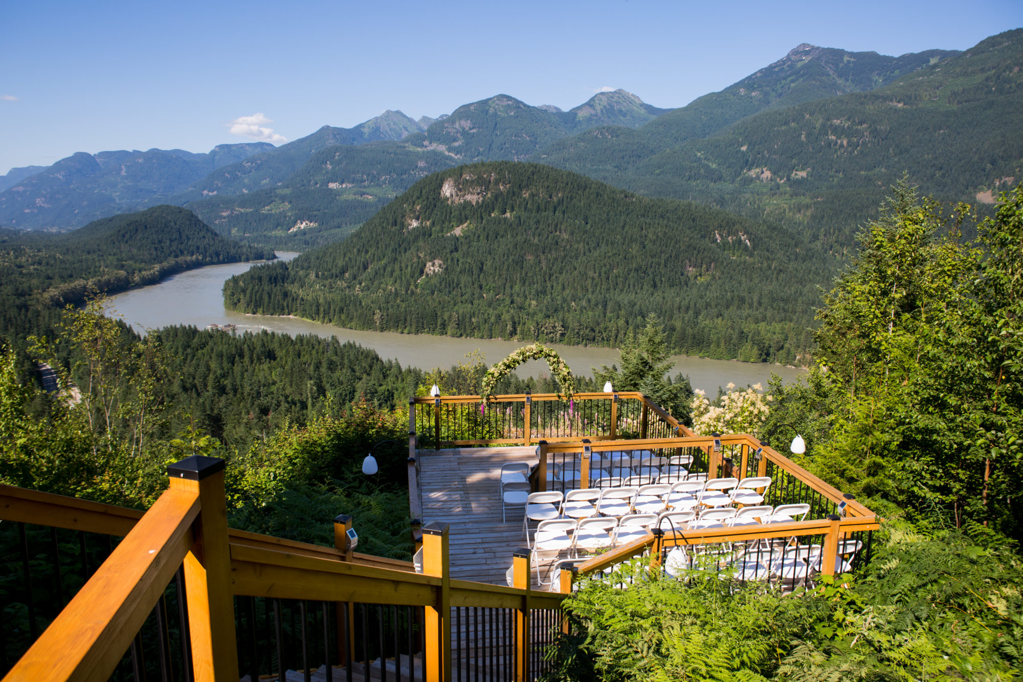 Outdoor Cliff Ceremony Hope Wedding British Columbia American Creek Lodge Zsuzsi Pal Photography