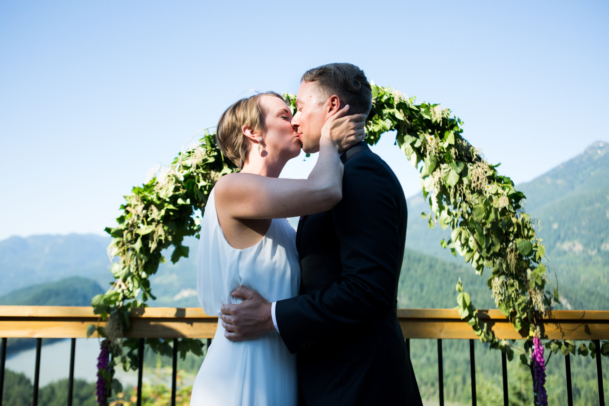 Ceremony Kiss Hope Wedding British Columbia American Creek Lodge Zsuzsi Pal Photography