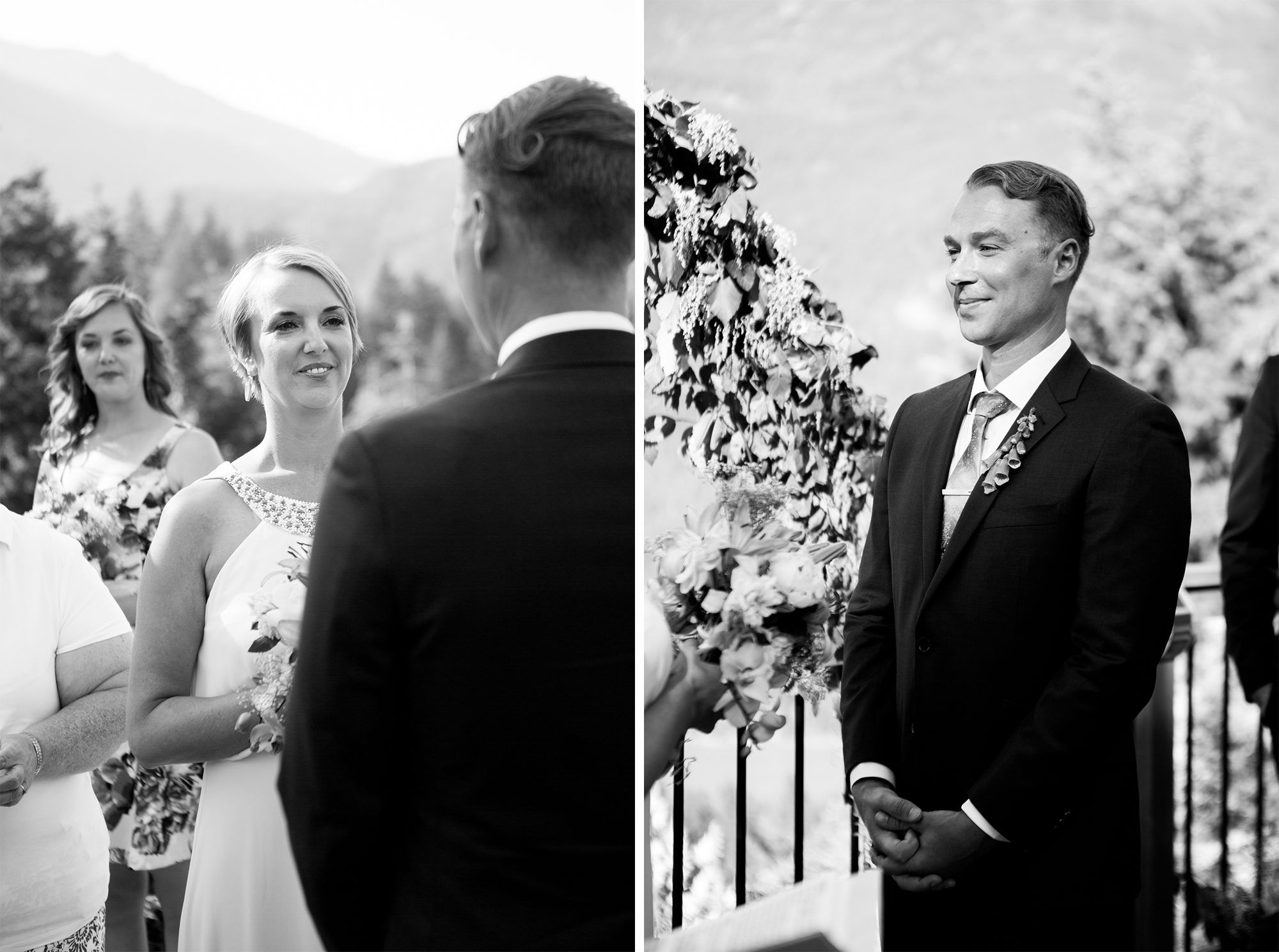 Black and White Ceremony Hope Wedding British Columbia American Creek Lodge Zsuzsi Pal Photography