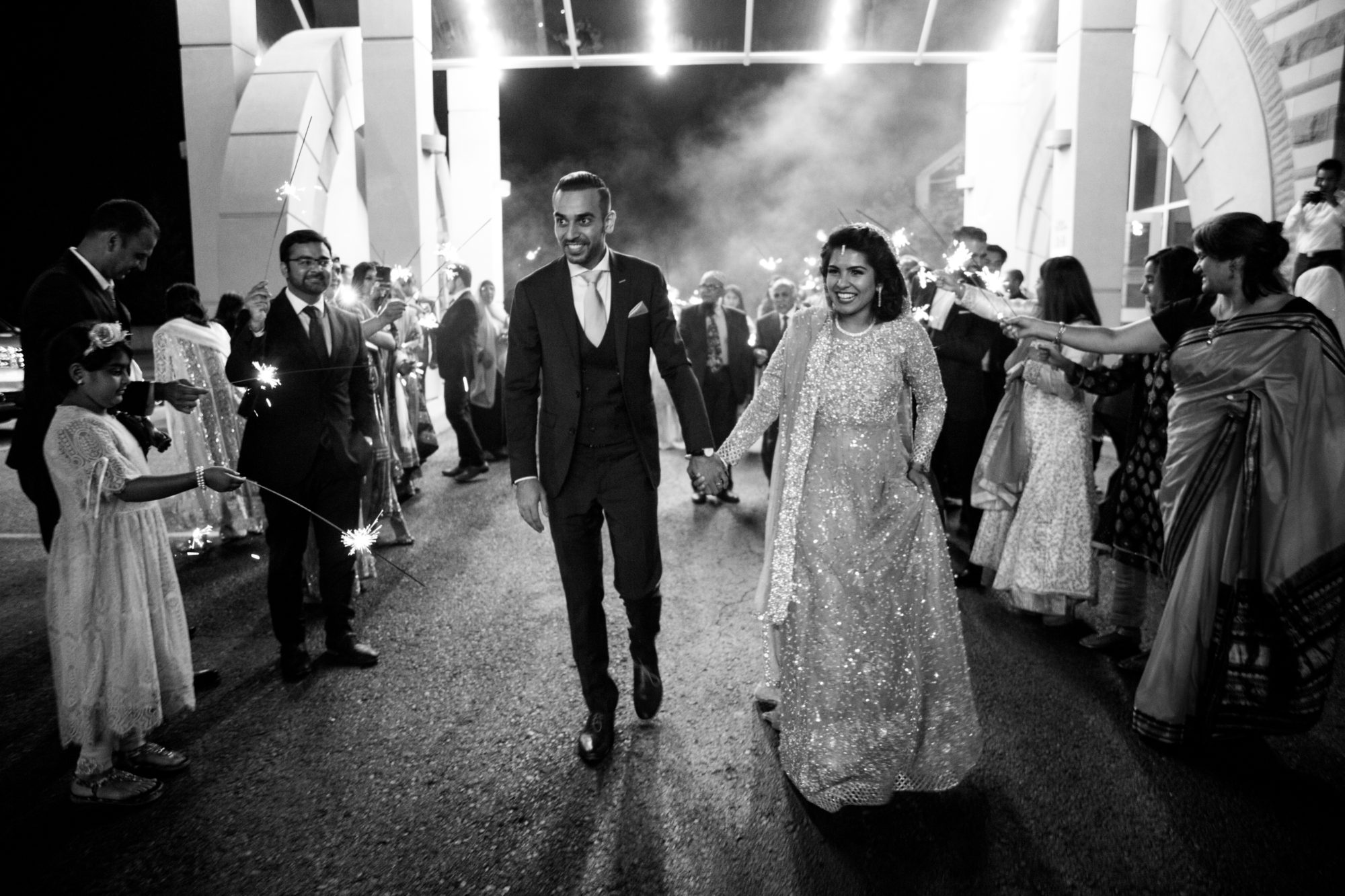 Sparklers Black and White Saba and Jawad Indian Wedding Zsuzsi Pal Photography
