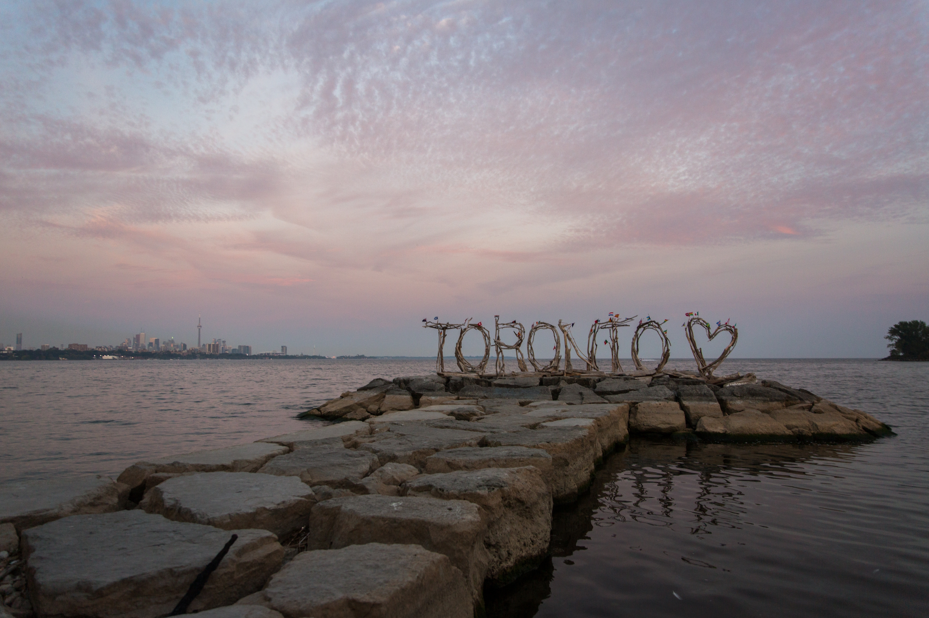 Humber Bay Park Drifwood Sign Sunset Toronto Engagement Zsuzsi Pal Photography