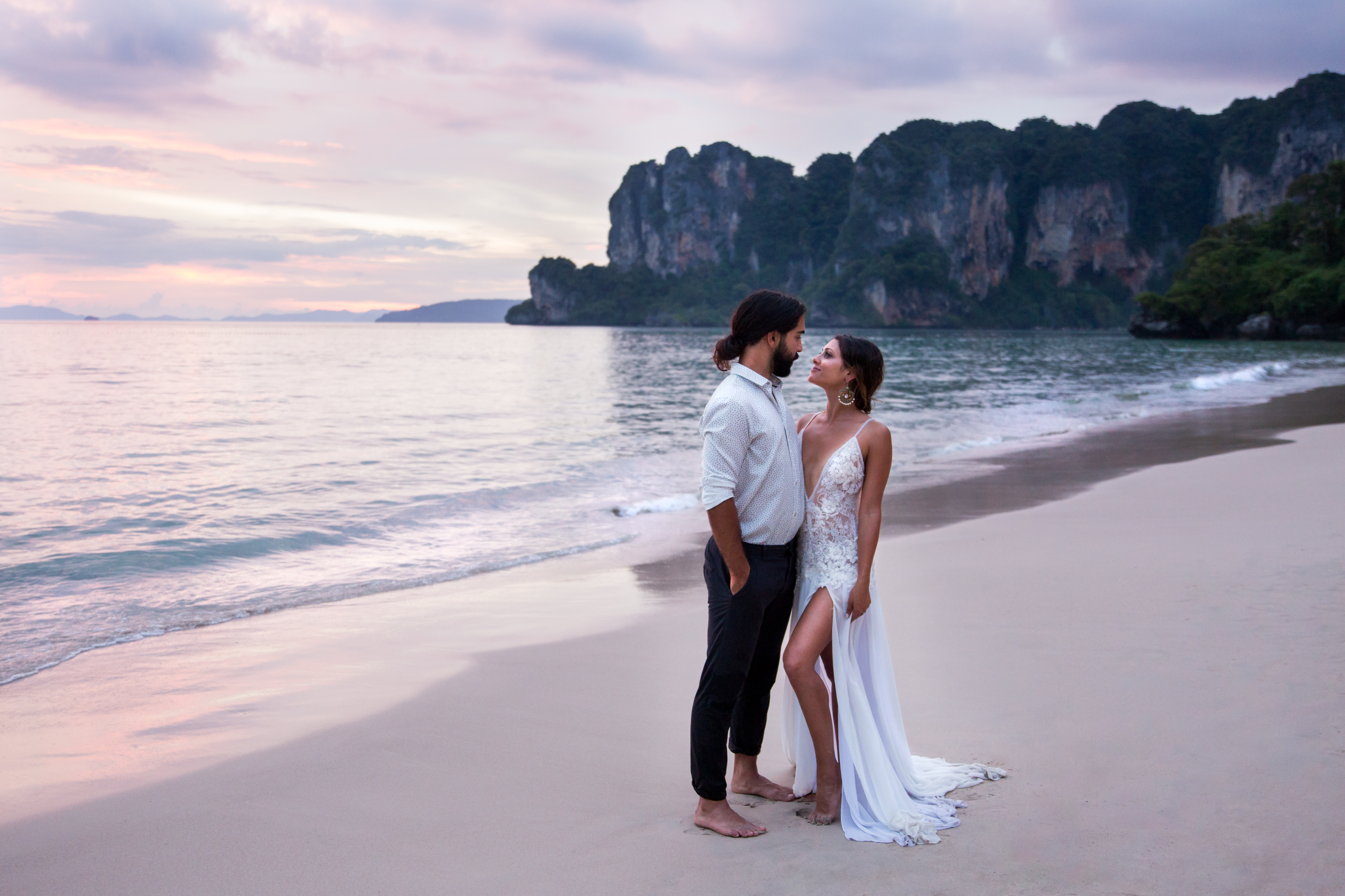 Persian Newlyweds Magic Hour Pruple Sky Railay Beach Thailand Krabi Zsuzsi Pal Photography Wedding Sunset