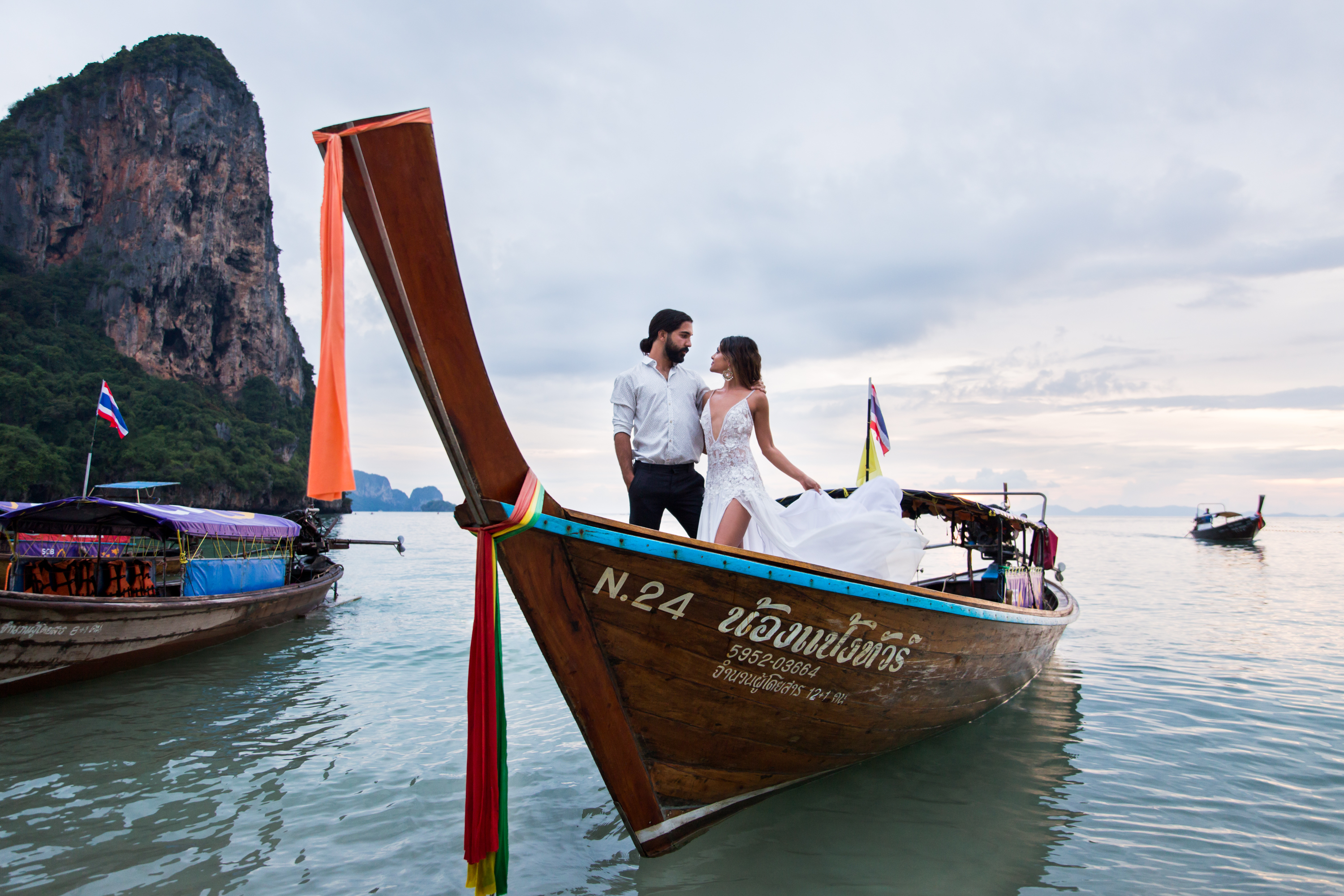 Thai Fishing Boat Railay Beach Thailand Krabi Zsuzsi Pal Photography Wedding Sunset