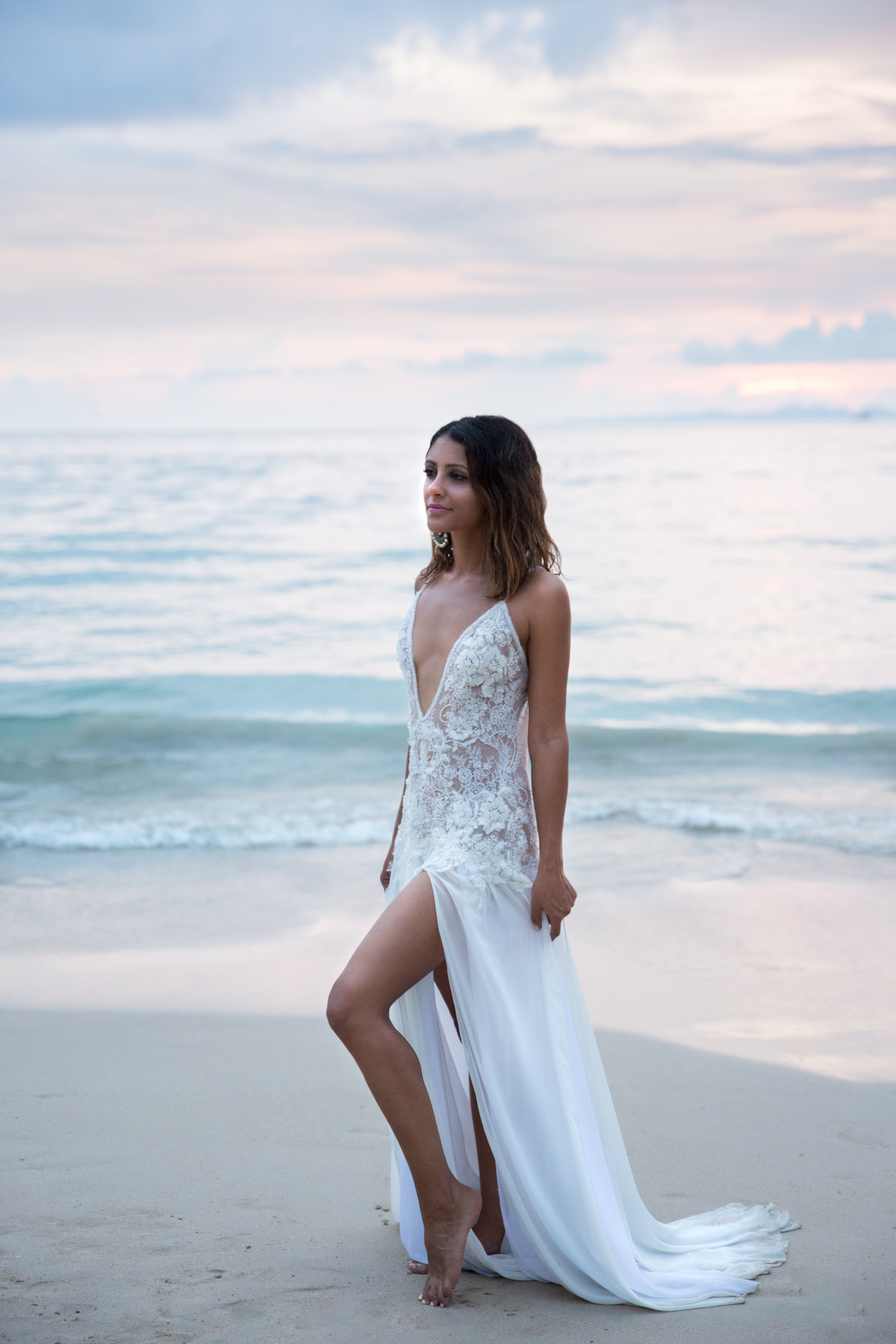 Bride Dress Railay Beach Thailand Krabi Zsuzsi Pal Photography Wedding Sunset