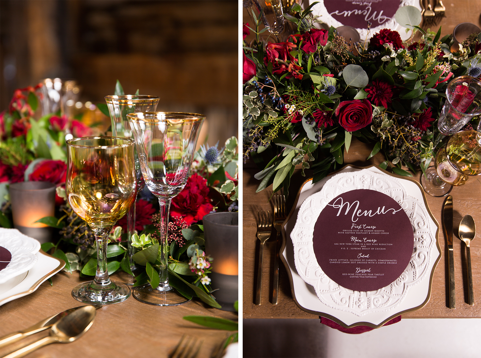 Table Rustic Burgundy Gold Barn Wedding Zsuzsi Pal Photography