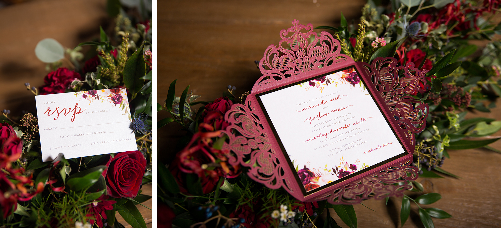 Laser Cute Invite Rustic Burgundy Gold Barn Wedding Zsuzsi Pal Photography