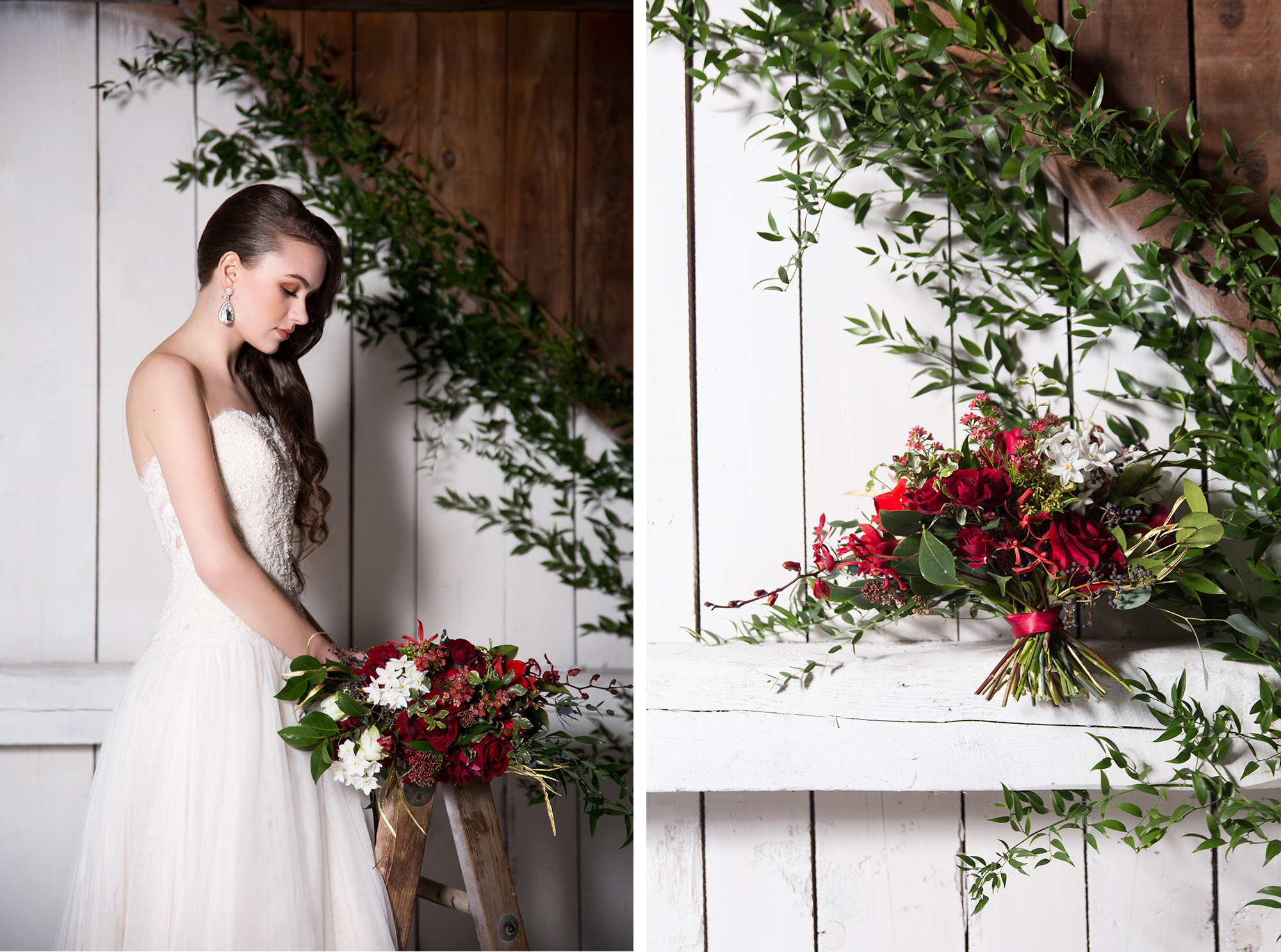Bride Bouquet Rustic Burgundy Gold Barn Wedding Zsuzsi Pal Photography