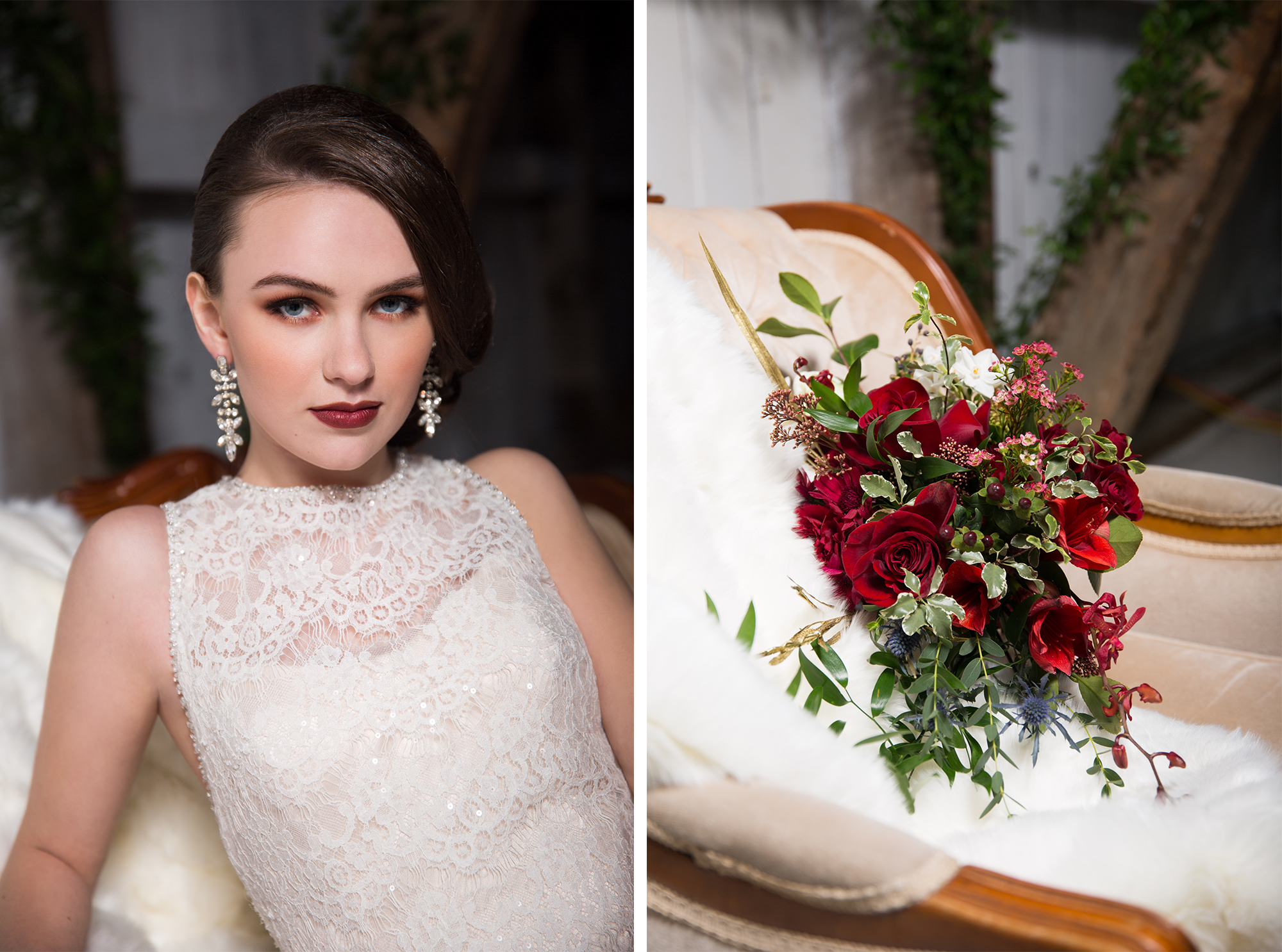 Bride Portrait Rustic Burgundy Gold Barn Wedding Zsuzsi Pal Photography