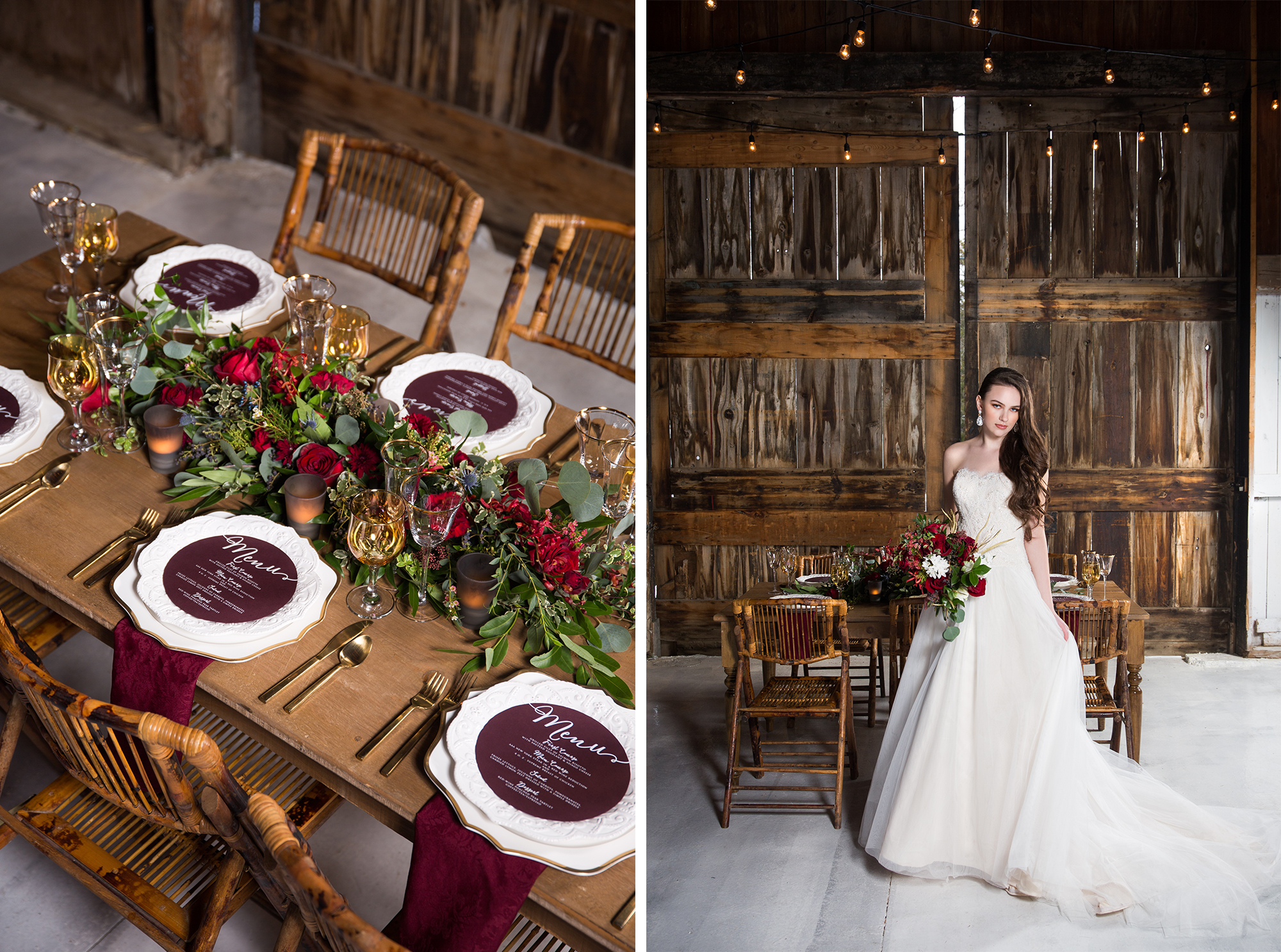 Bouquet Table Setting Bride Rustic Burgundy Gold Barn Wedding Zsuzsi Pal Photography