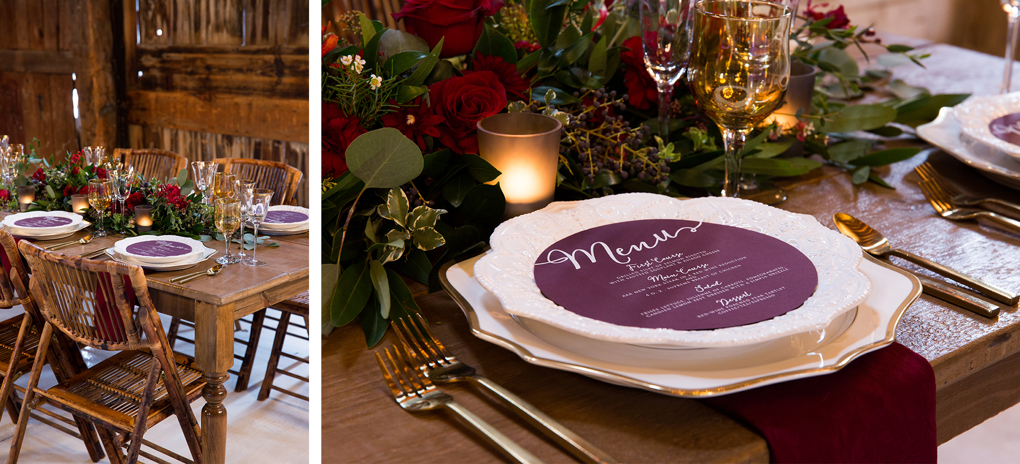 Plate Menu Rustic Burgundy Gold Barn Wedding Zsuzsi Pal Photography