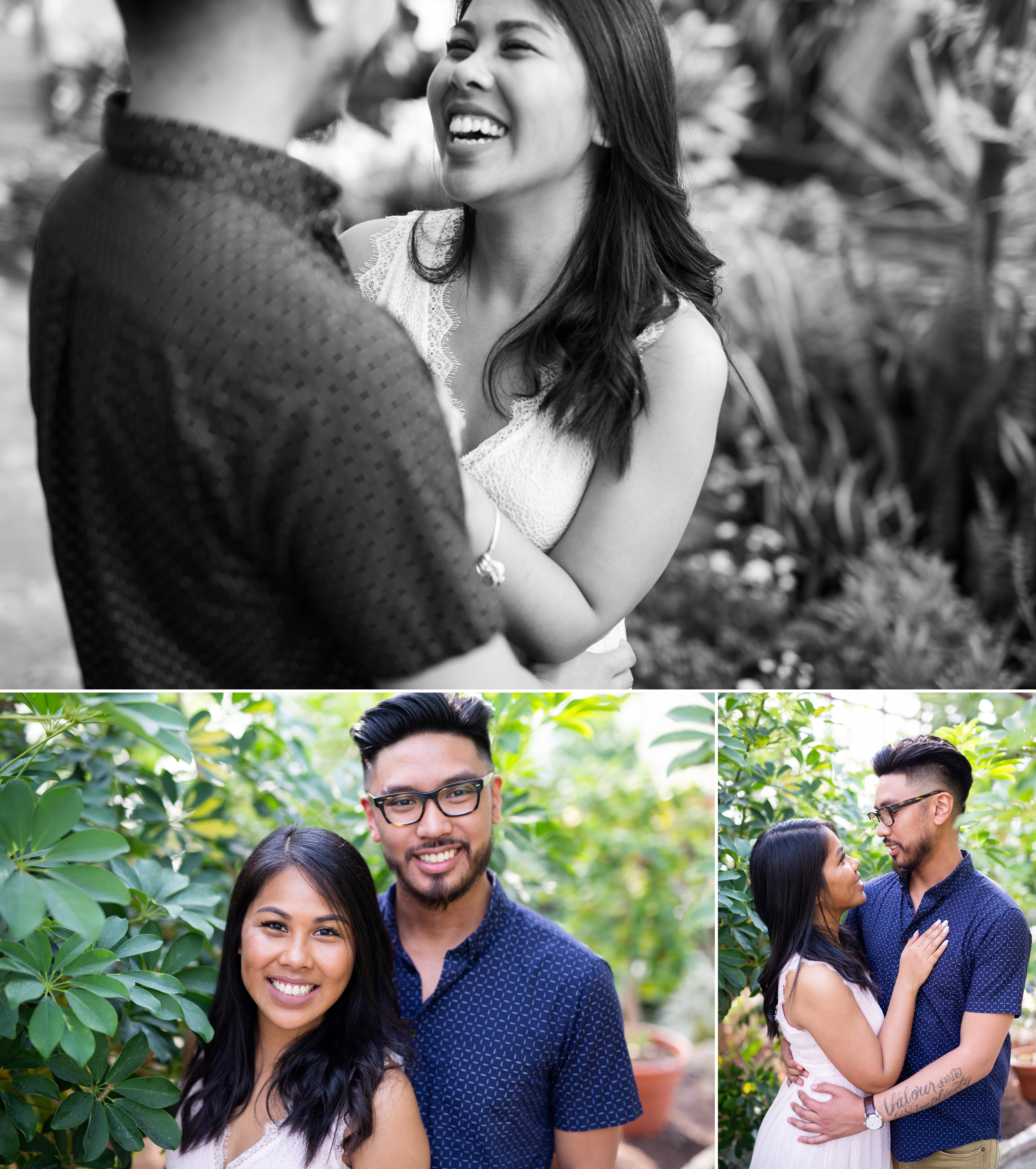 Black and white Oakville Greenhouse Engagement Zsuzsi Pal Photography Kristina Remar