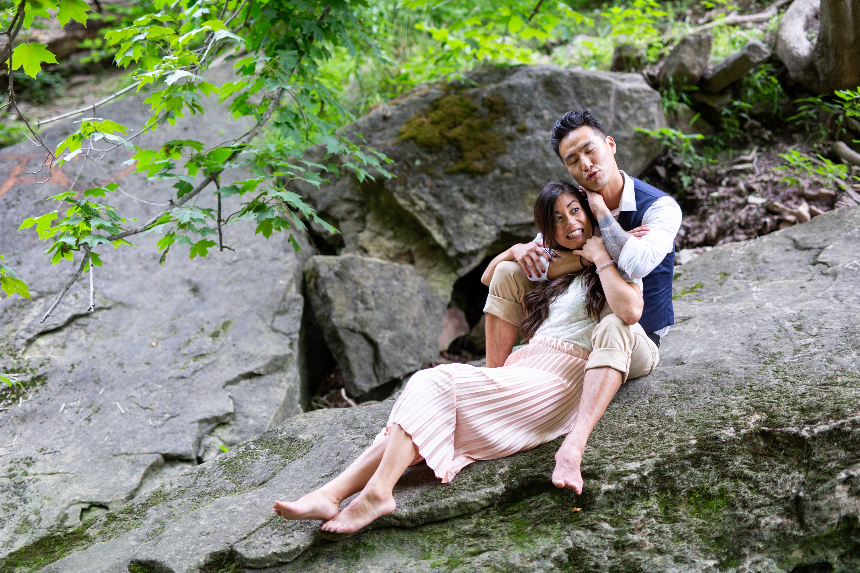 Candid Outtake Engagement Session Albion Falls Waterfall Hamilton Zsuzsi Pal Photography