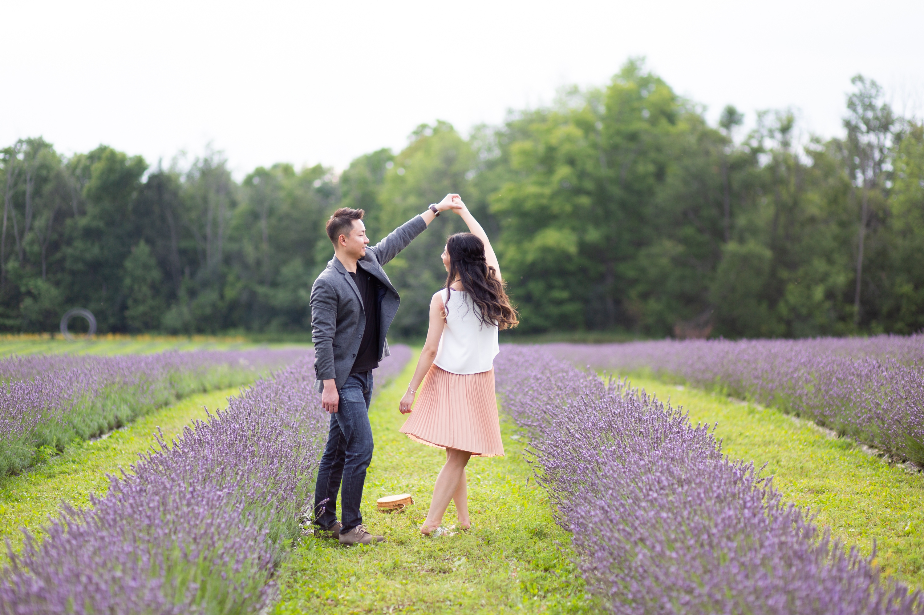 Dance Twirl Engagement Shoot Lavender Farm Terre Bleu Milton Zsuzsi Pal Photography