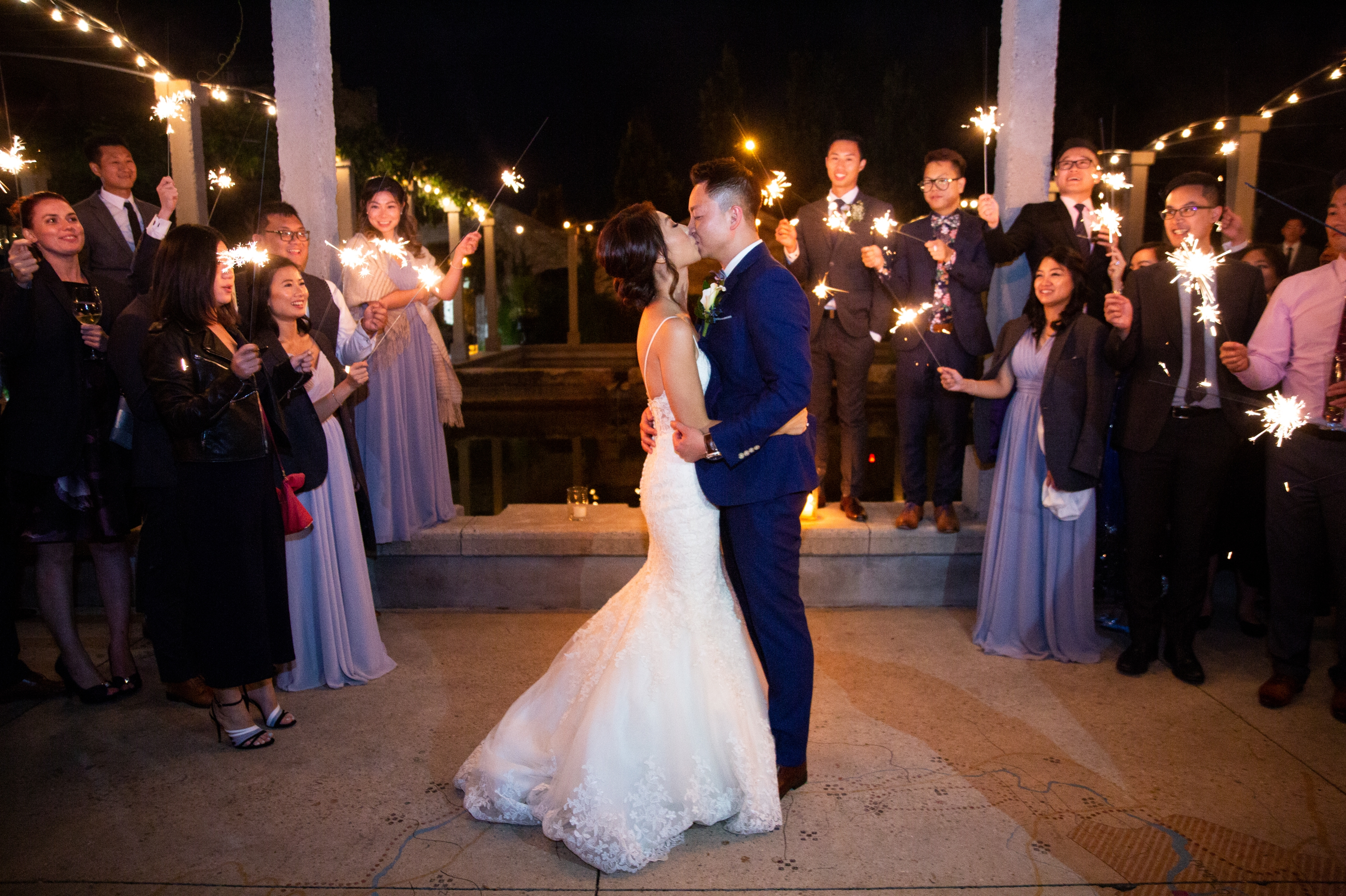 Sparklers Exit Kiss Chinese Wedding Hacienda Sarria Zsuzsi Pal Photography Toronto