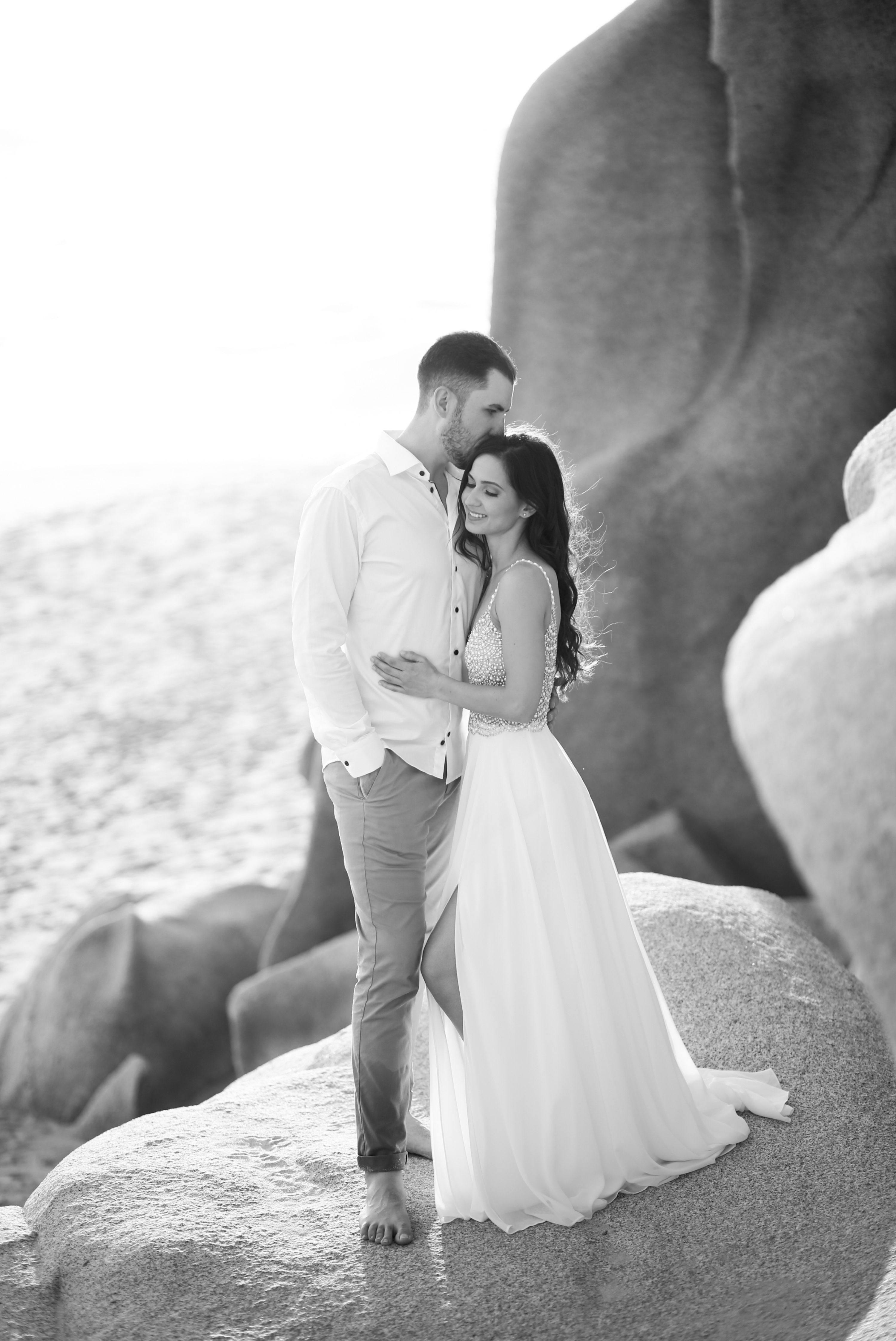 Black and White Groom Bride Mexico Sunset Beach Wedding Zsuzsi Pal Photography