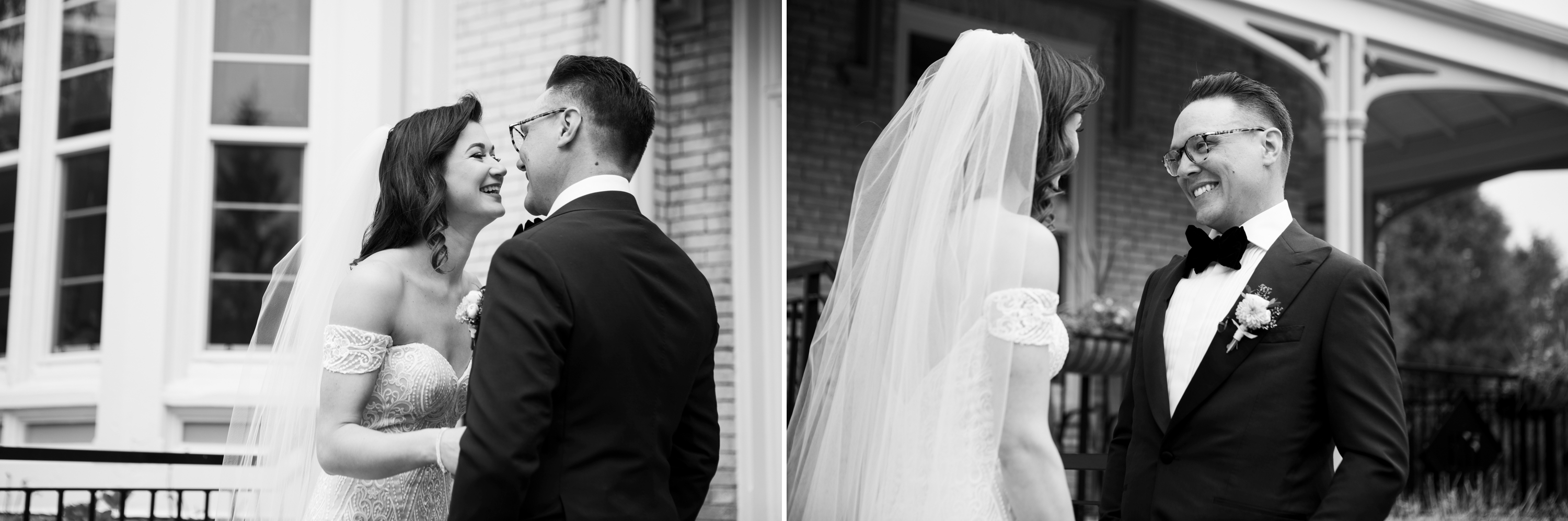 Josh Zsuzsi Pal Photography Wedding Elmhurst Inn Studio Lumen Bride Groom Black and White