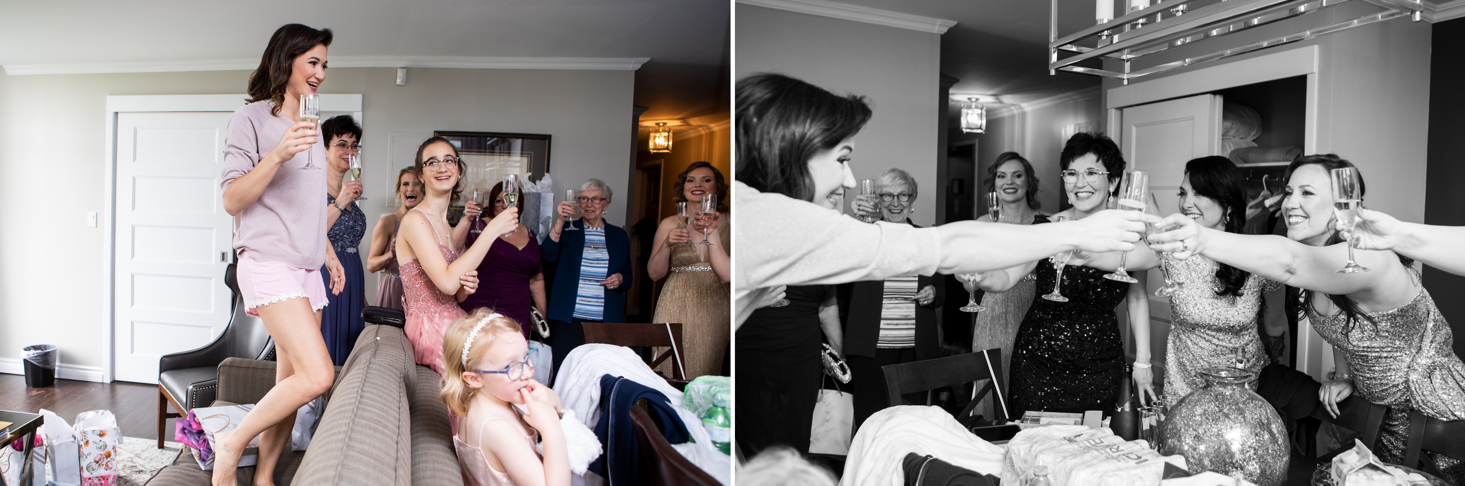Cheers Bridal Party Josh Zsuzsi Pal Photography Wedding Elmhurst Inn Studio Lumen