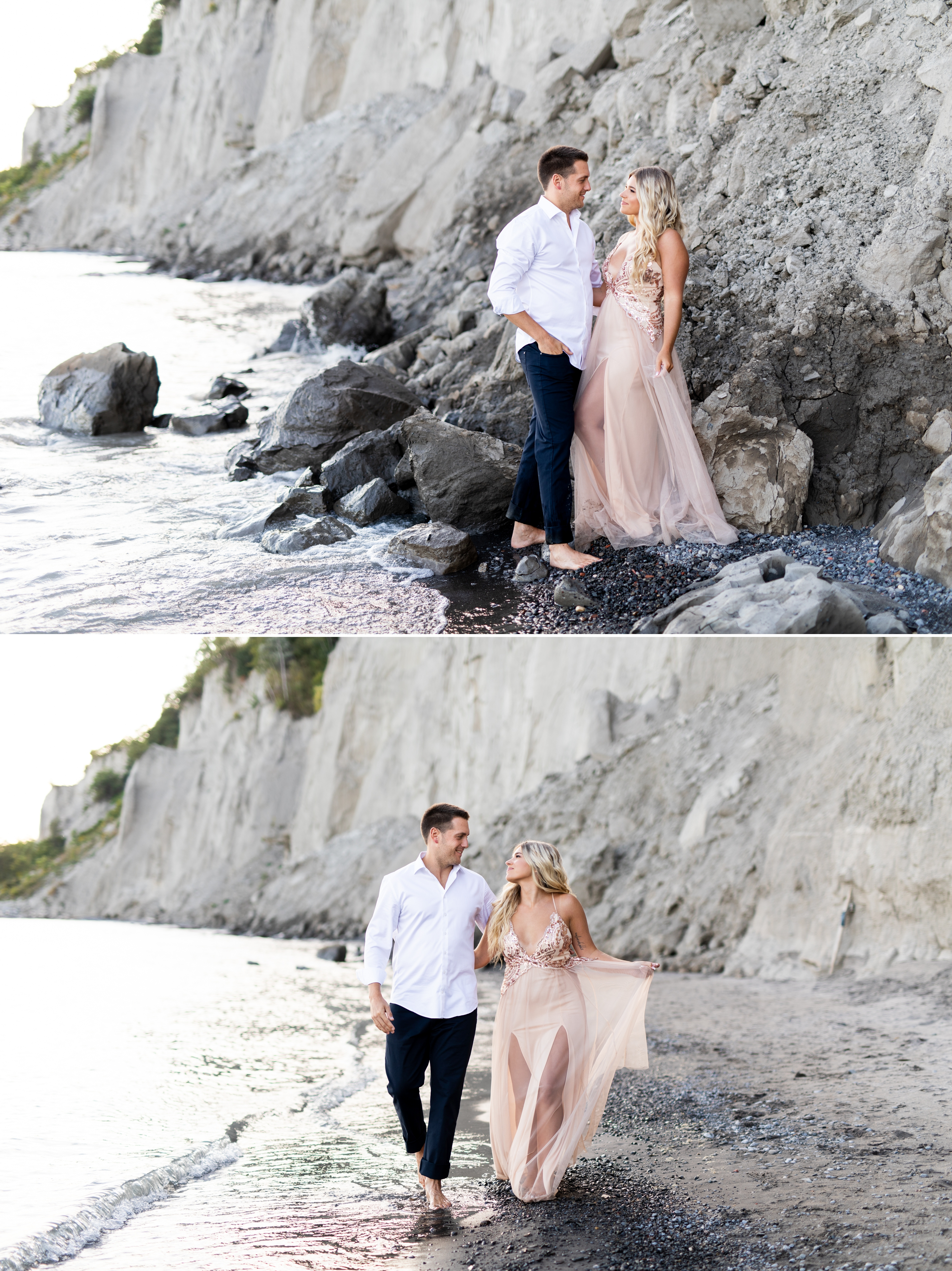 Zsuzsi Pal Photography, Guild Inn, Scarborough Bluffs, Engagement, Toronto, Beach, Rocks, Cliff