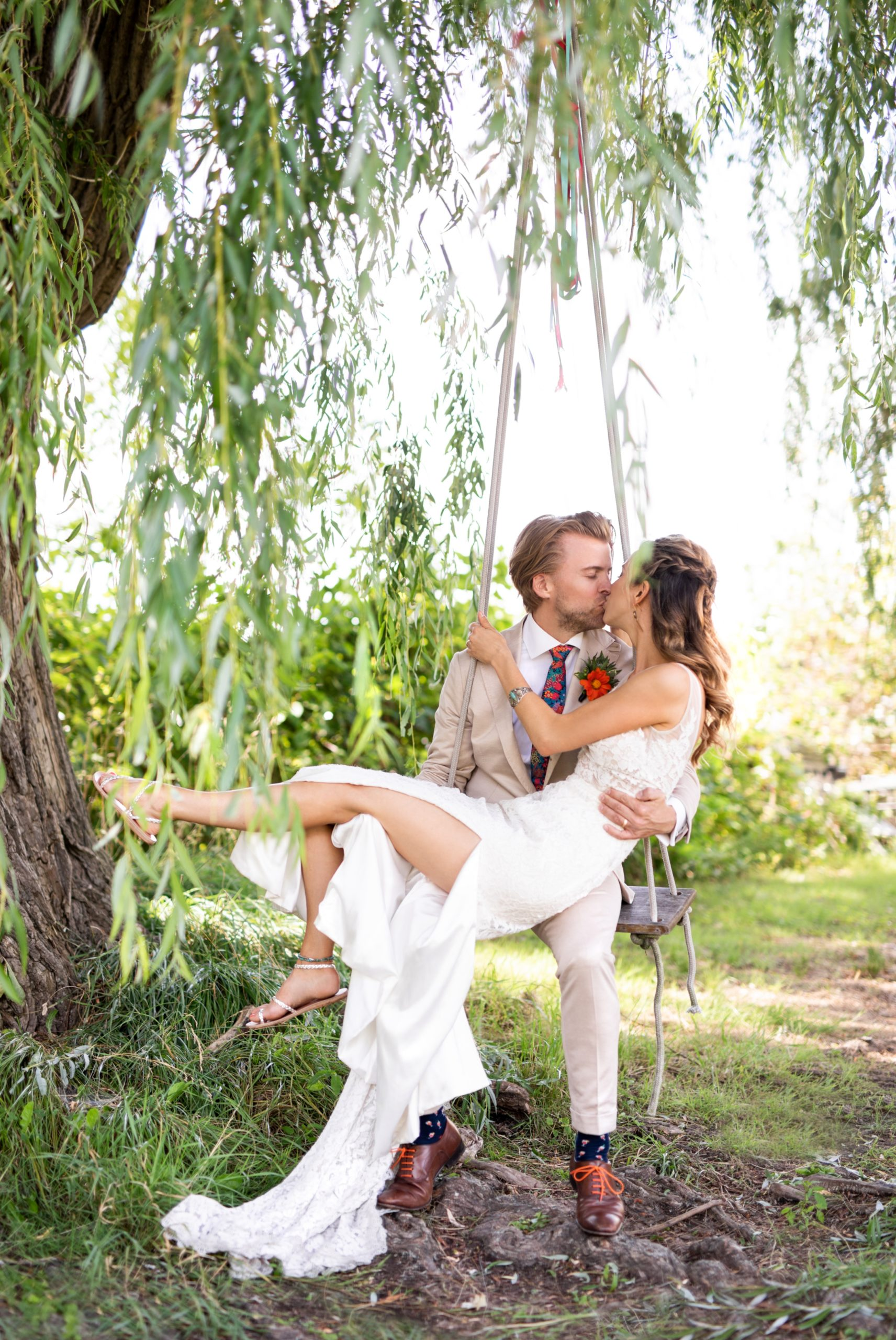 Bride Groom Swing Toronto Ward's Island Summer Wedding Zsuzsi Pal Photography