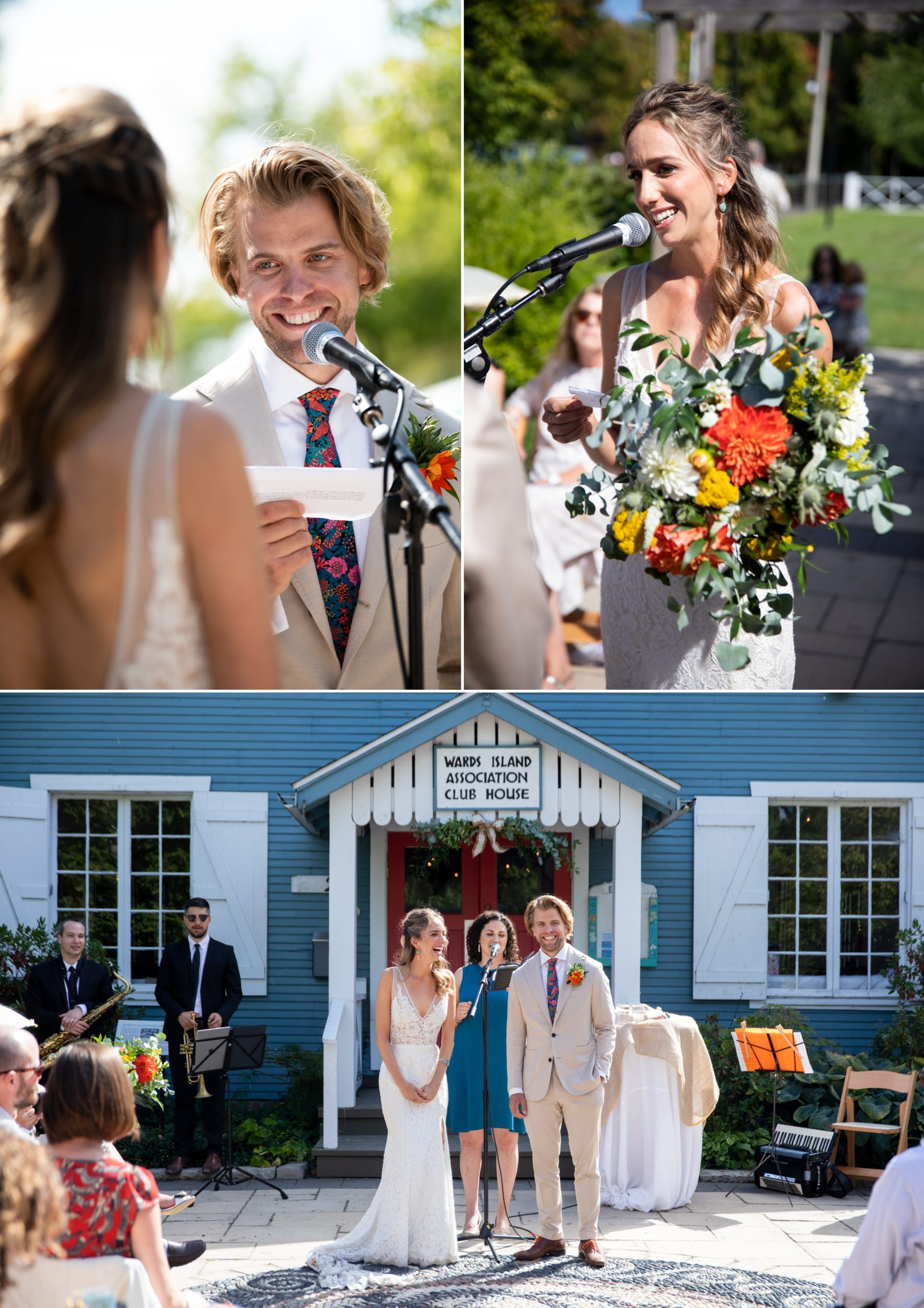 Bride Groom Ceremony Toronto Ward's Island Summer Wedding Zsuzsi Pal Photography