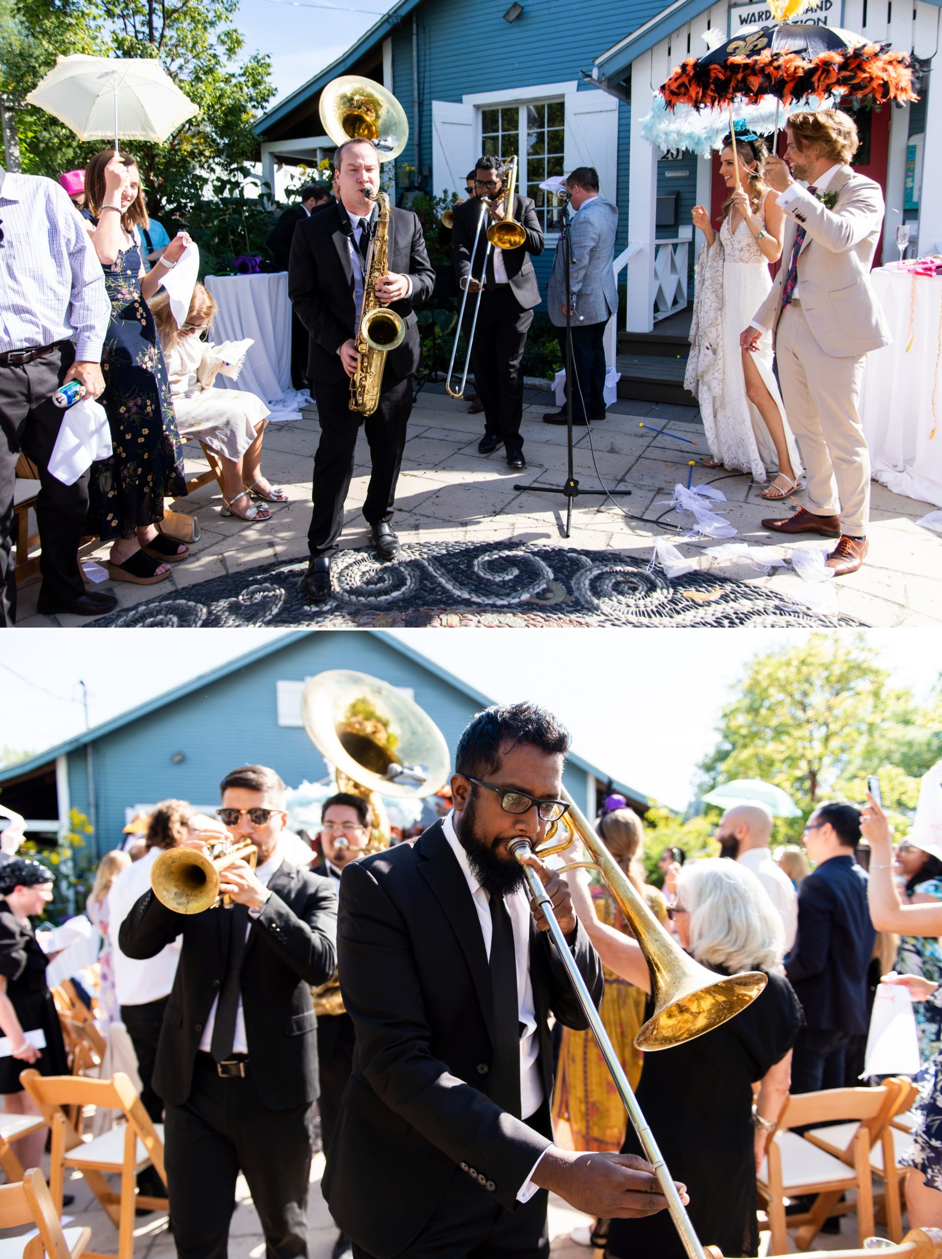 Brass Band Second Line Toronto Ward's Island Summer Wedding Zsuzsi Pal Photography