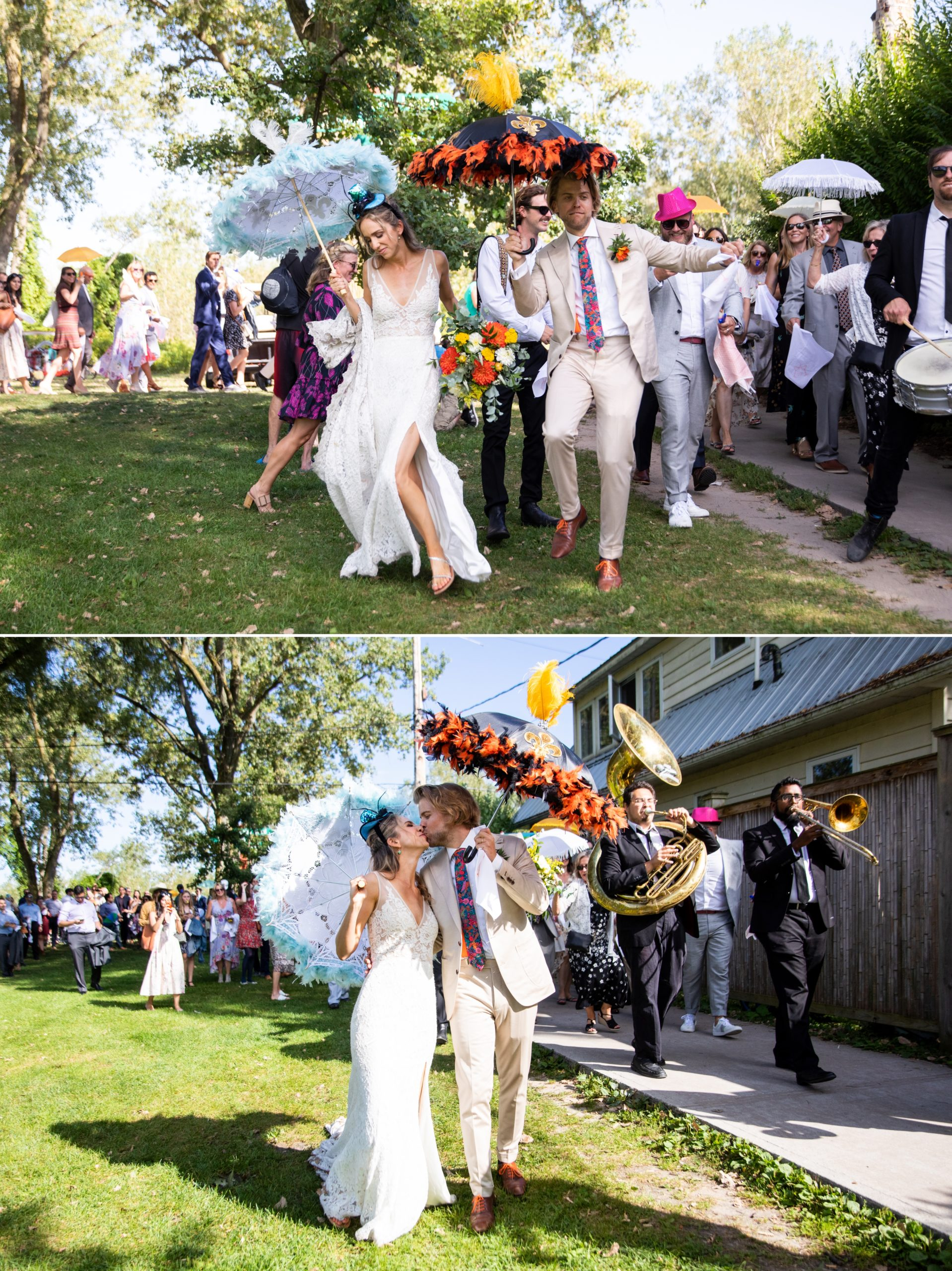 Feather Umbrellas Toronto Ward's Island Summer Wedding Zsuzsi Pal Photography