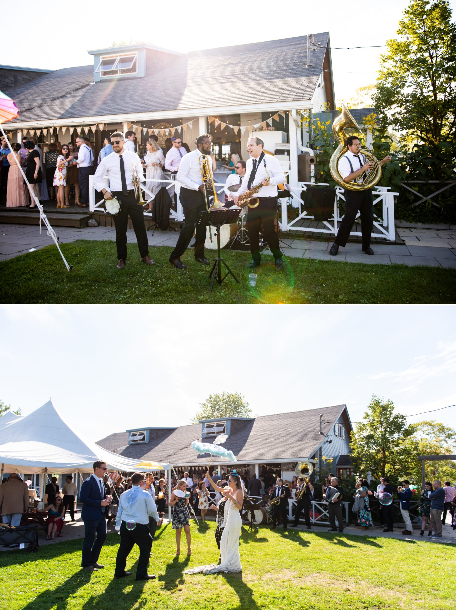 Brass Band Cocktail Hour Toronto Ward's Island Summer Wedding Zsuzsi Pal Photography