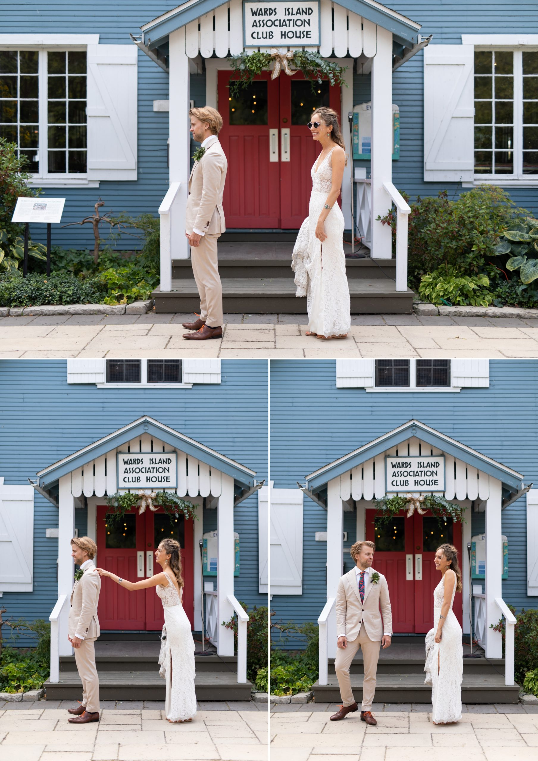 First Look Reveal Toronto Ward's Island Summer Wedding Zsuzsi Pal Photography