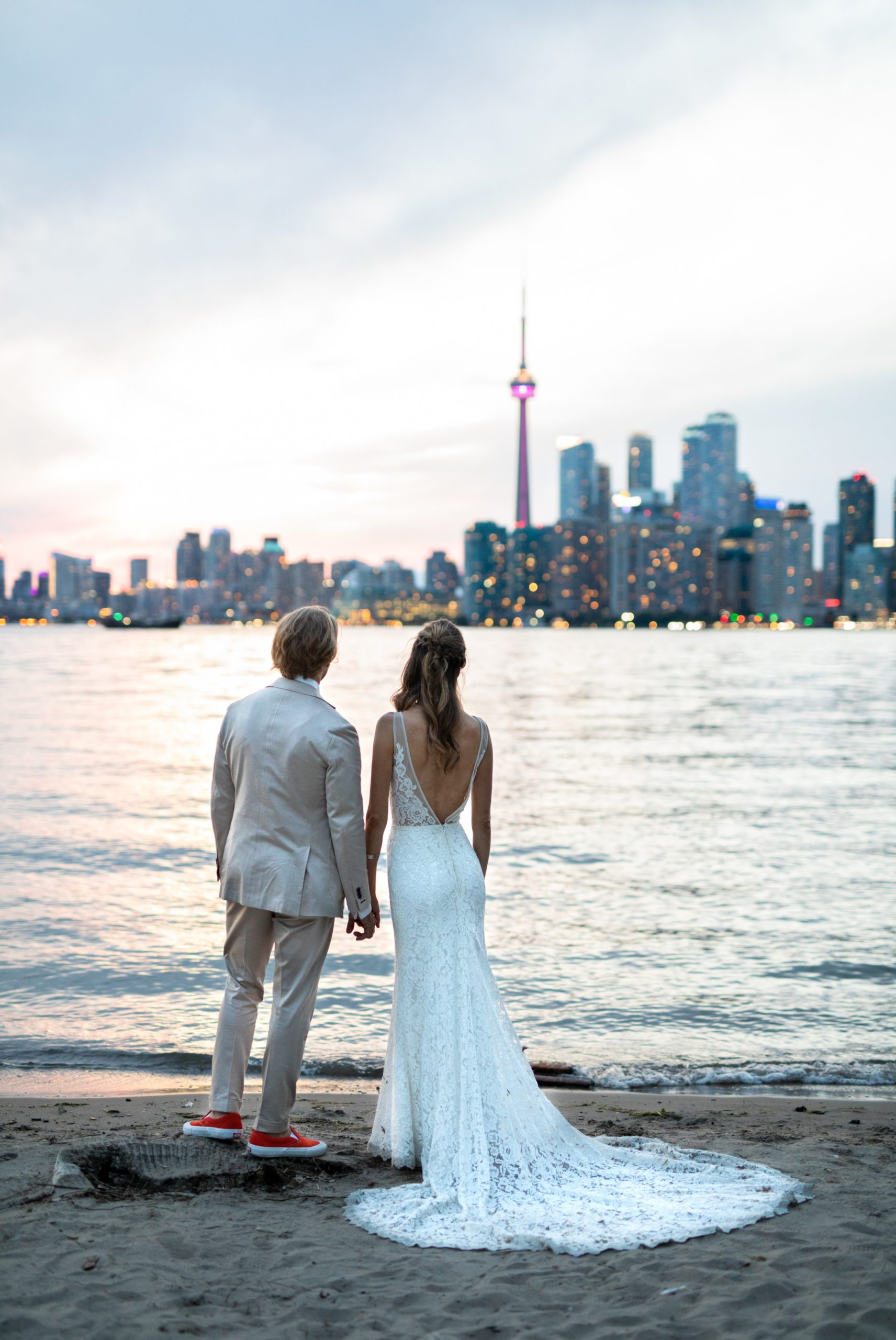 Blue Hour Skyline Toronto Ward's Island Summer Wedding Zsuzsi Pal Photography