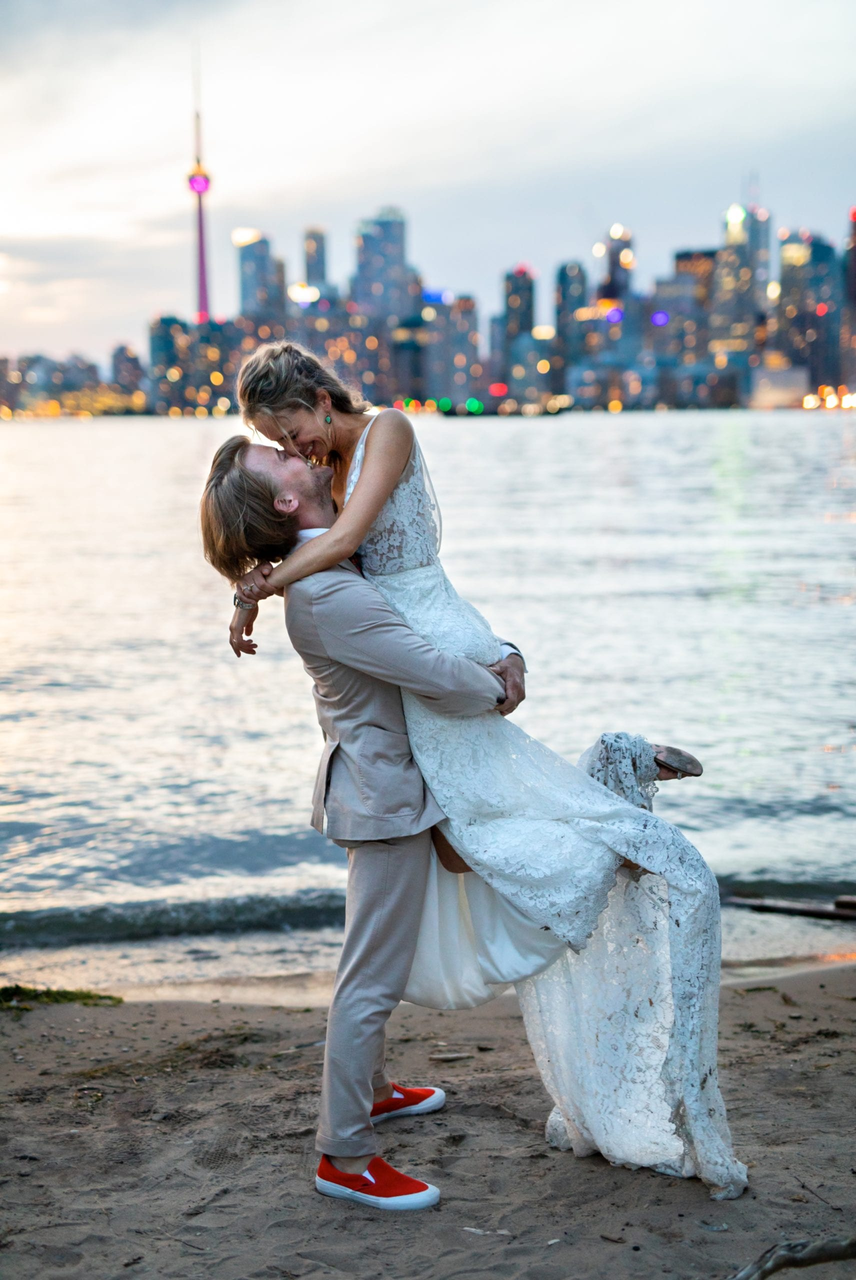 Blue Hour CN Tower Skyline Sunset Kiss Toronto Ward's Island Summer Wedding Zsuzsi Pal Photography