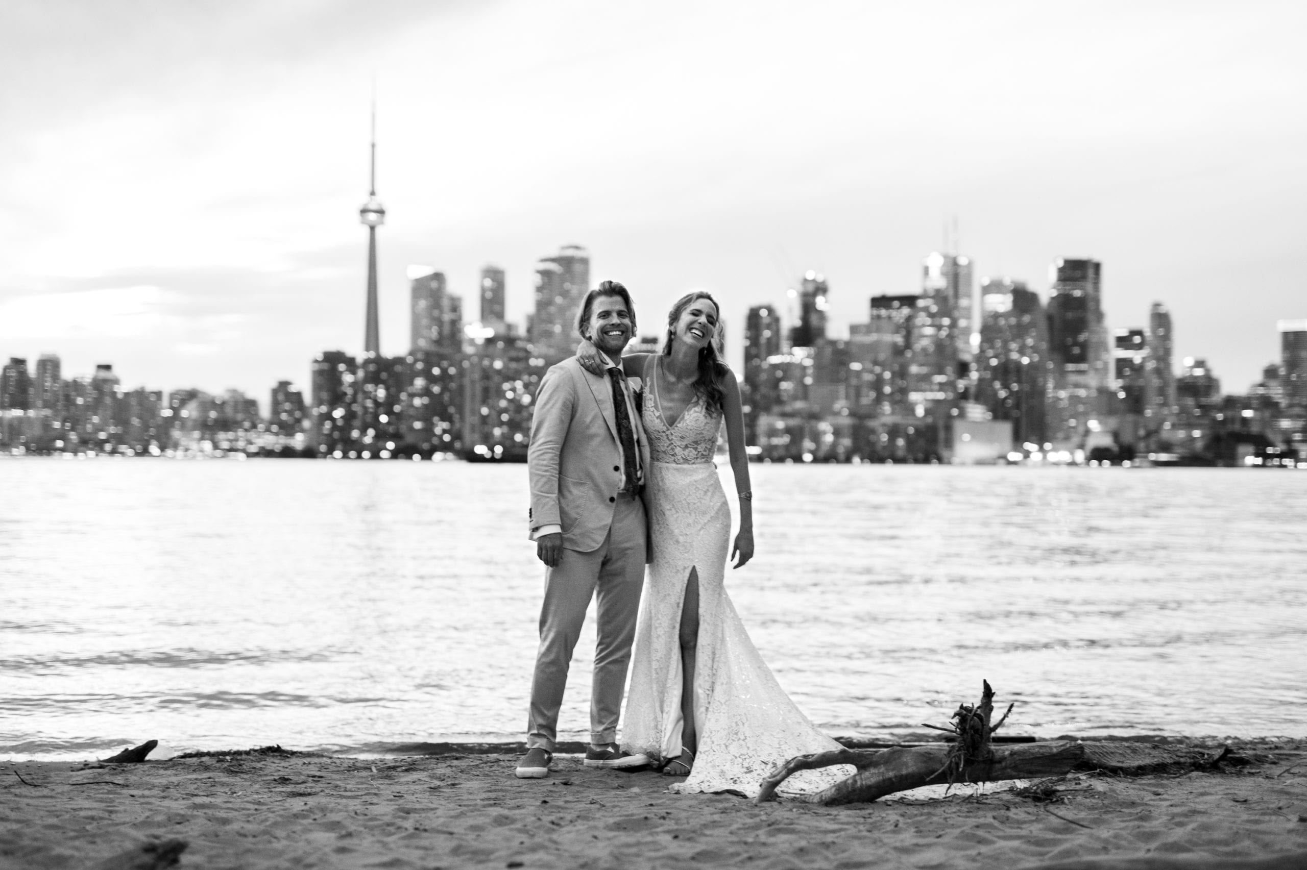 Sunset Skyline Toronto Ward's Island Summer Wedding Zsuzsi Pal Photography Black and White