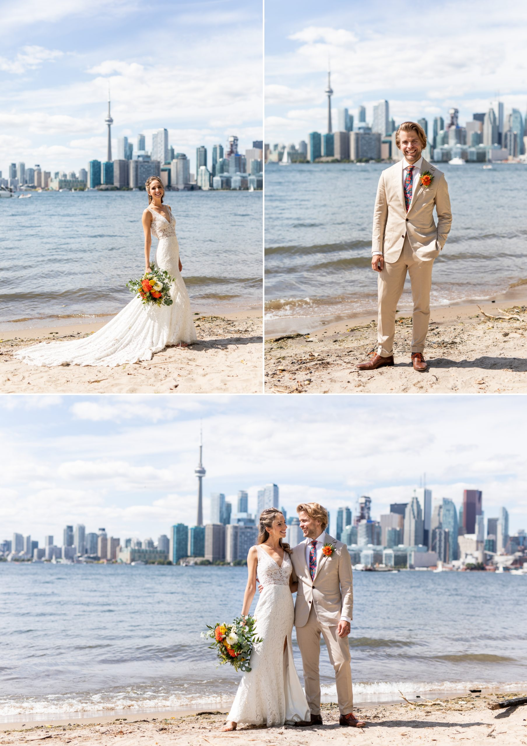 Skyline Lace Dress Toronto Ward's Island Summer Wedding Zsuzsi Pal Photography