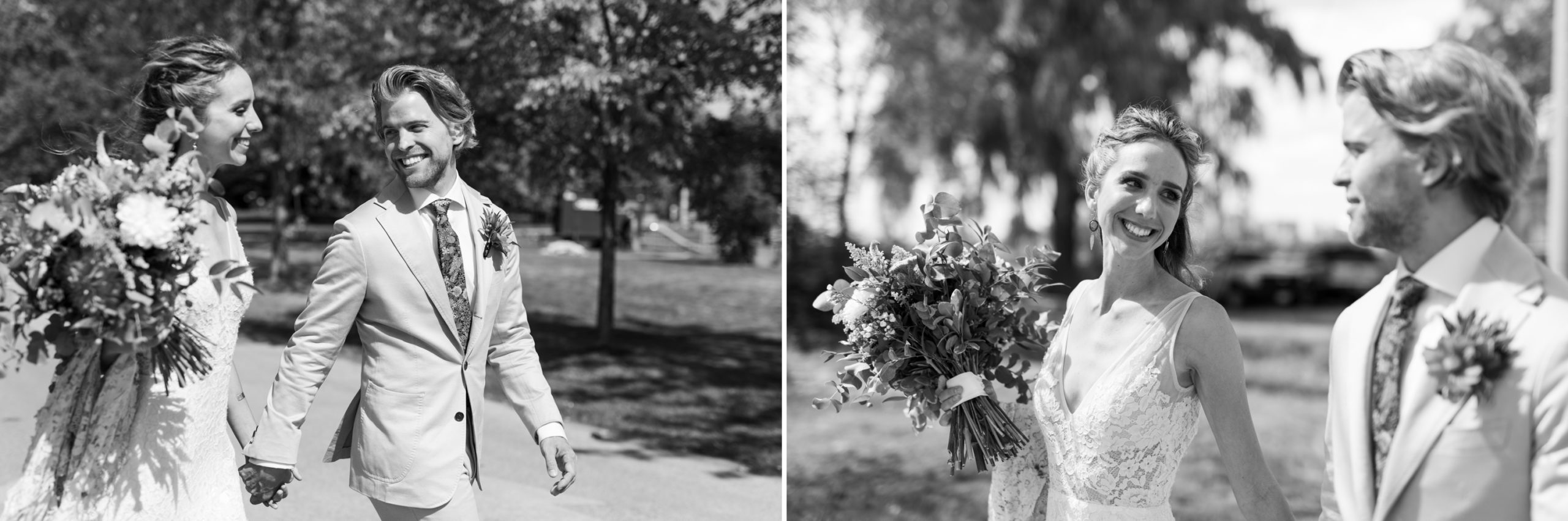 Bride Groom Walk Toronto Ward's Island Summer Wedding Zsuzsi Pal Photography