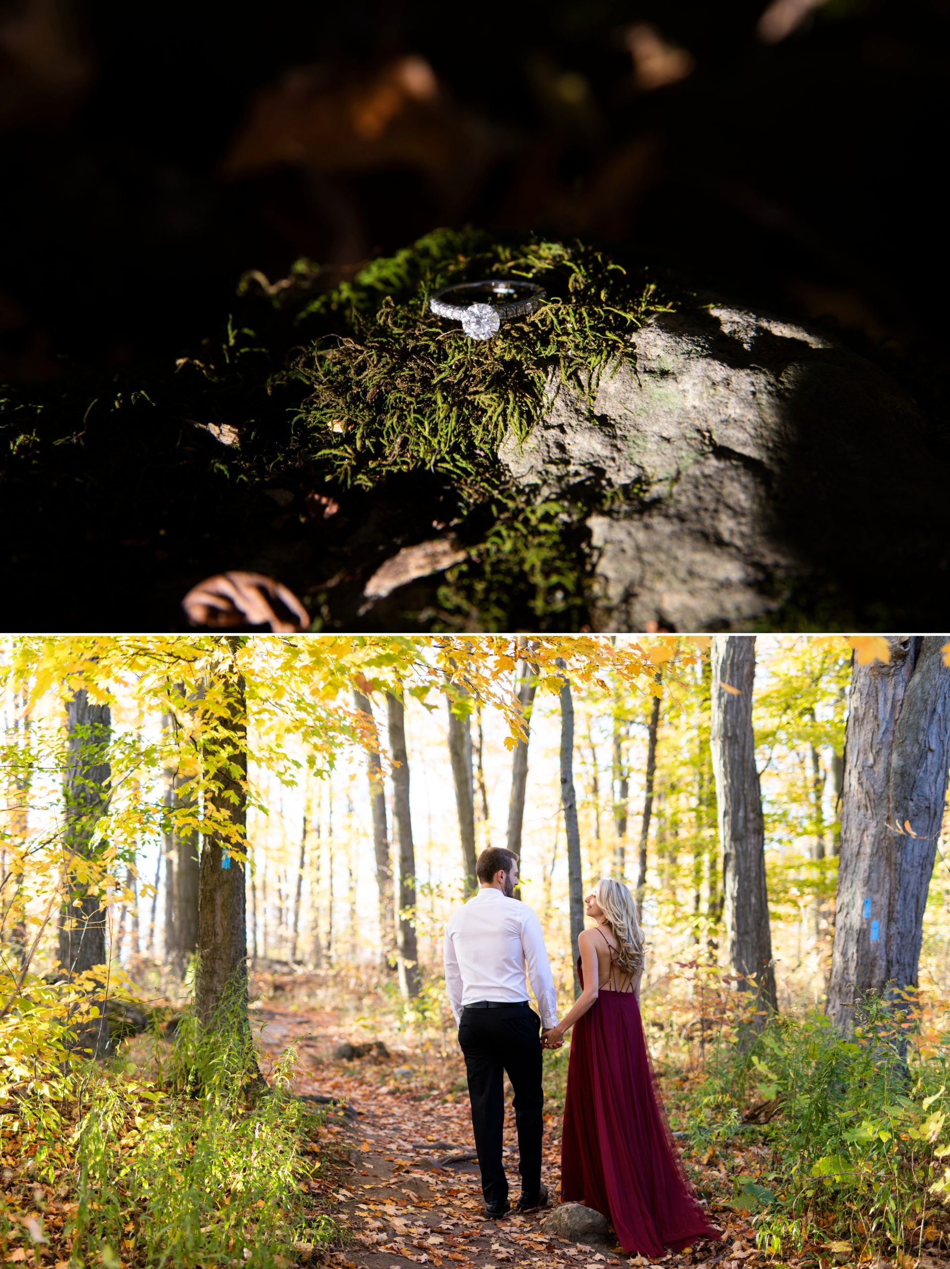 Engagement Diamond Ring Rattlesnake Point Fall Autumn Engagement Milton Zsuzsi Pal Photography