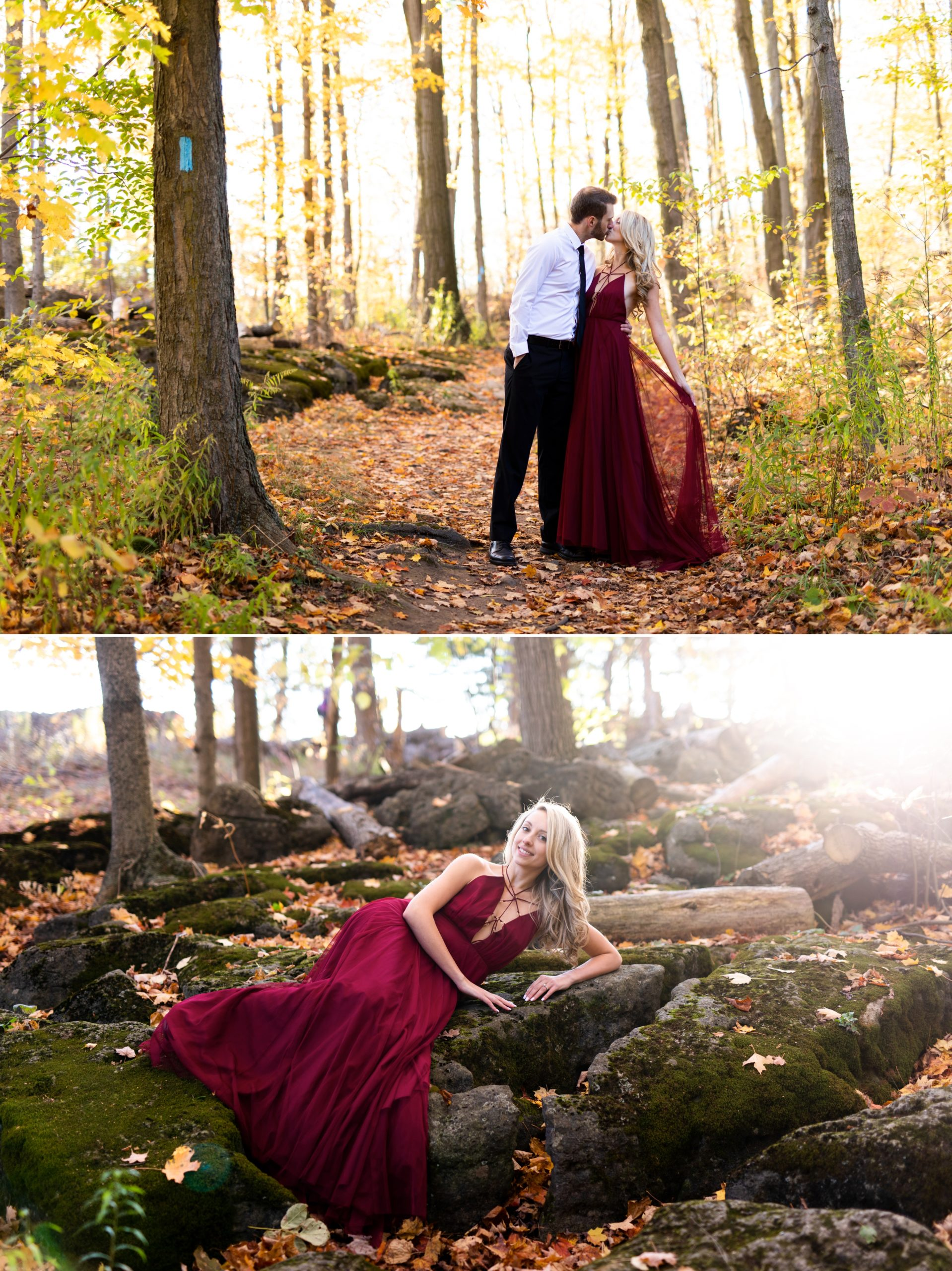 Moss Red Dress Rattlesnake Point Fall Autumn Engagement Milton Zsuzsi Pal Photography