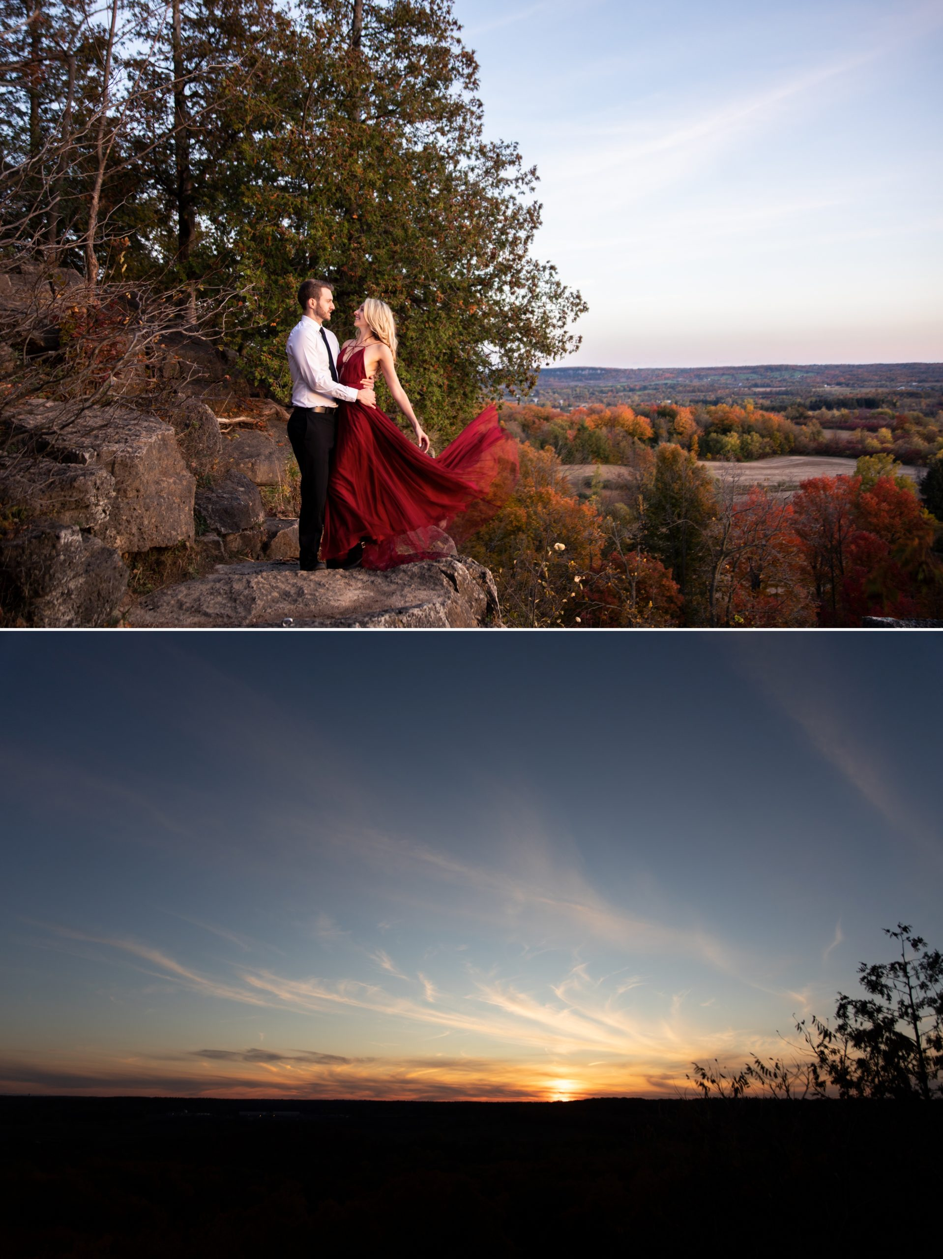 Sunset Drama Rattlesnake Point Fall Autumn Engagement Milton Zsuzsi Pal Photography