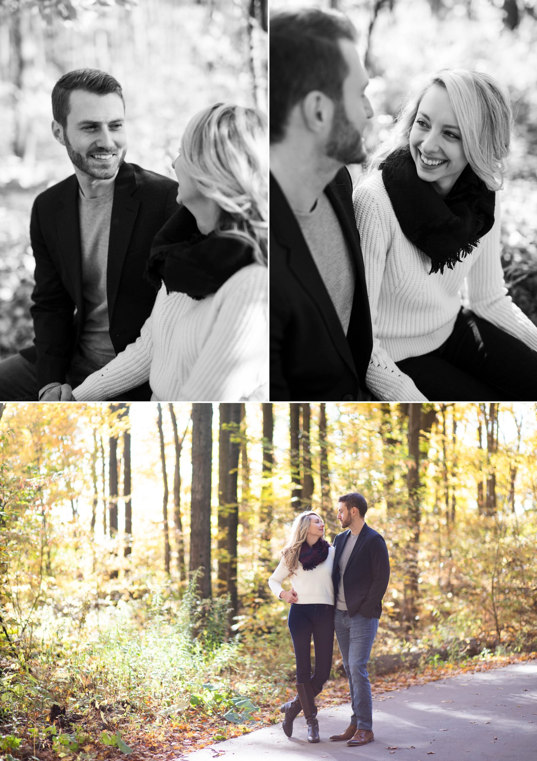 Black and White Portrait Rattlesnake Point Fall Autumn Engagement Milton Zsuzsi Pal Photography