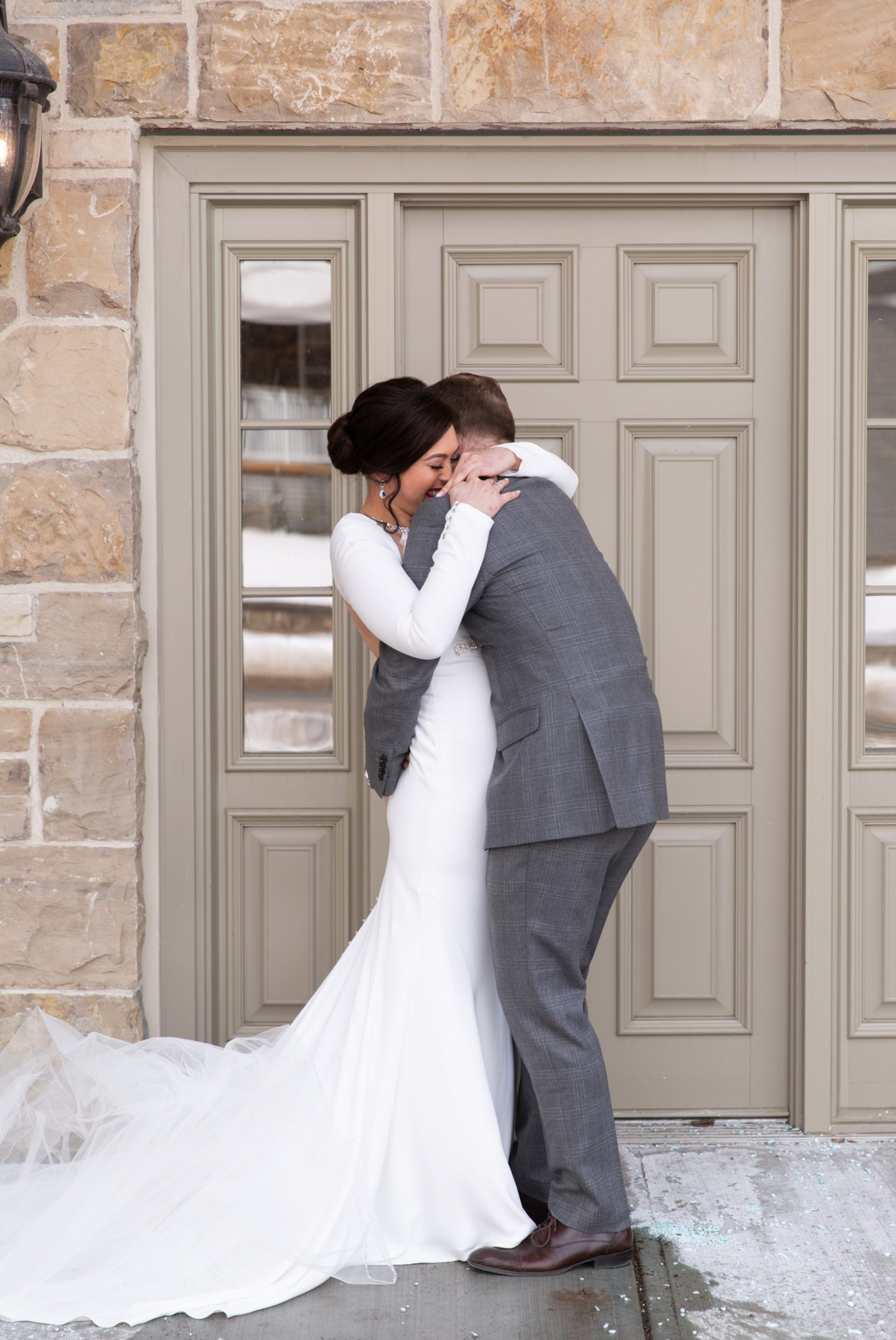 Bride Groom Reveal First Look Winter Wedding, Ancaster, Hamilton, Zsuzsi Pal Photography
