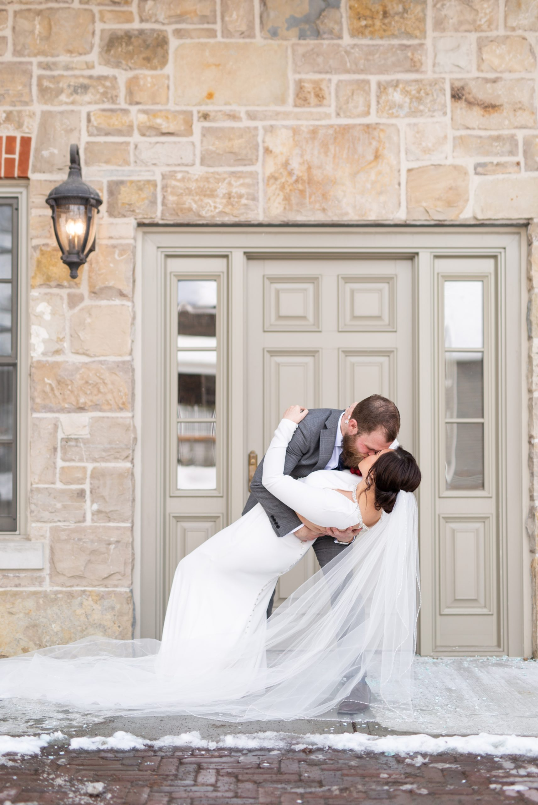 Bride Groom Dip Kiss Winter Wedding, Ancaster, Hamilton, Zsuzsi Pal Photography