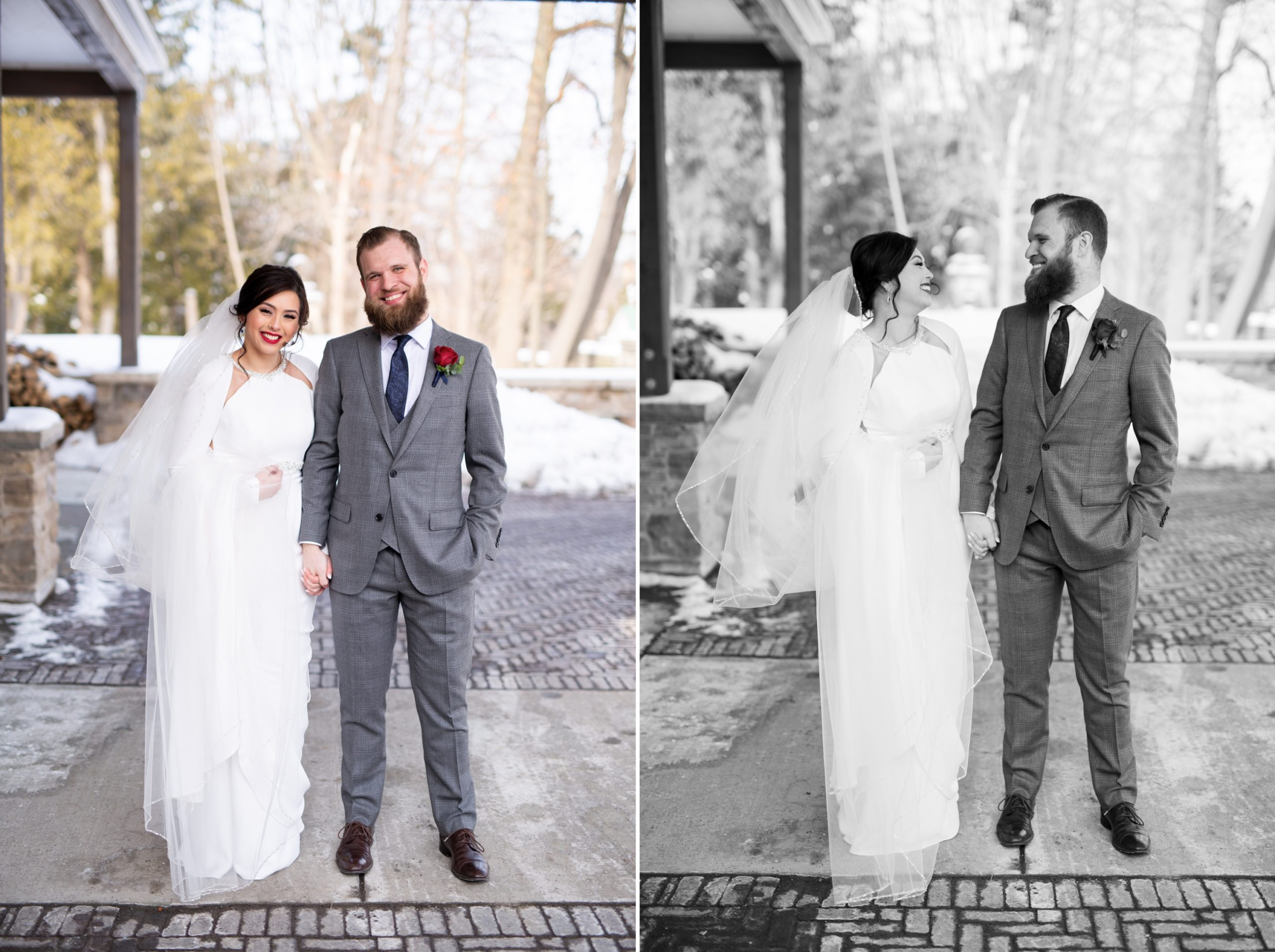 Bride Groom Portraits Winter Wedding, Ancaster, Hamilton, Zsuzsi Pal Photography