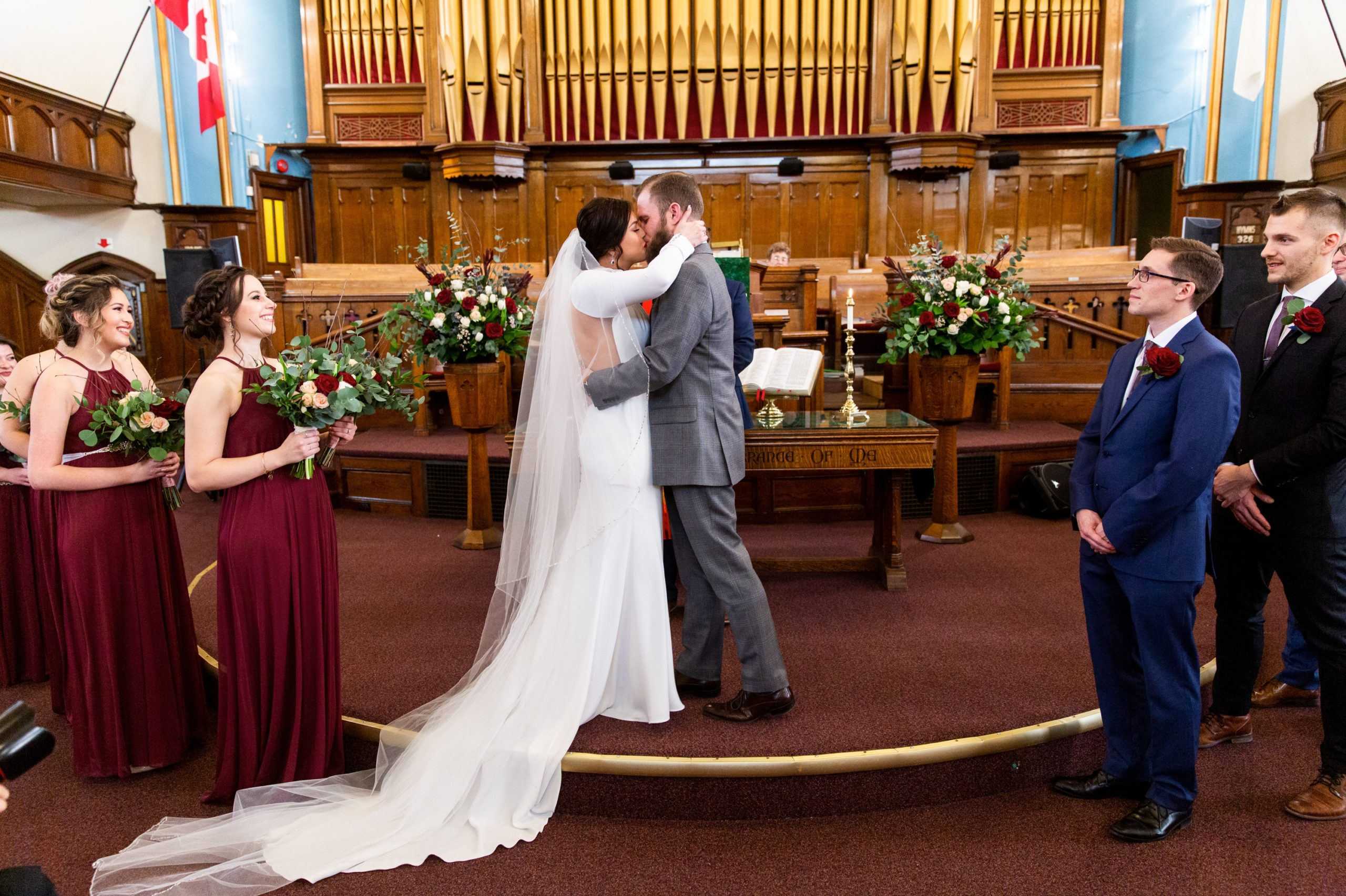 Ceremony Church Kiss Winter Wedding, Ancaster, Hamilton, Zsuzsi Pal Photography