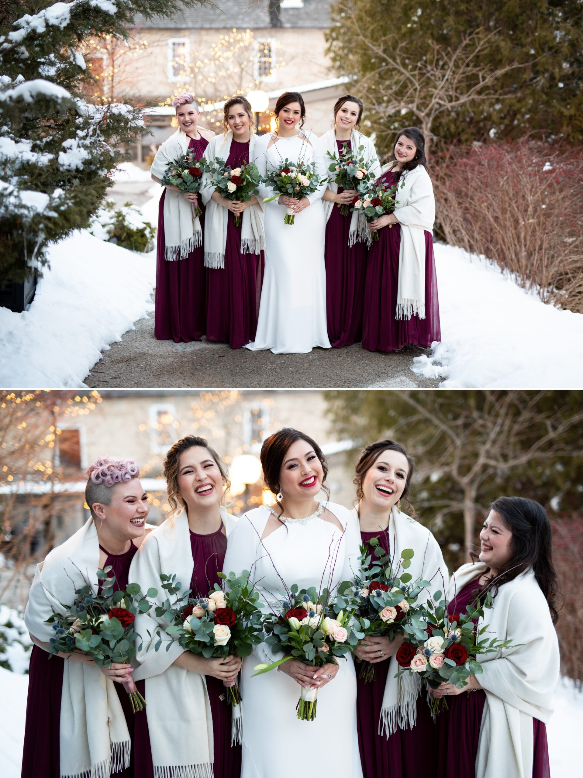 Bridesmaids Reception Ancaster Mill Winter Wedding, Ancaster, Hamilton, Zsuzsi Pal Photography