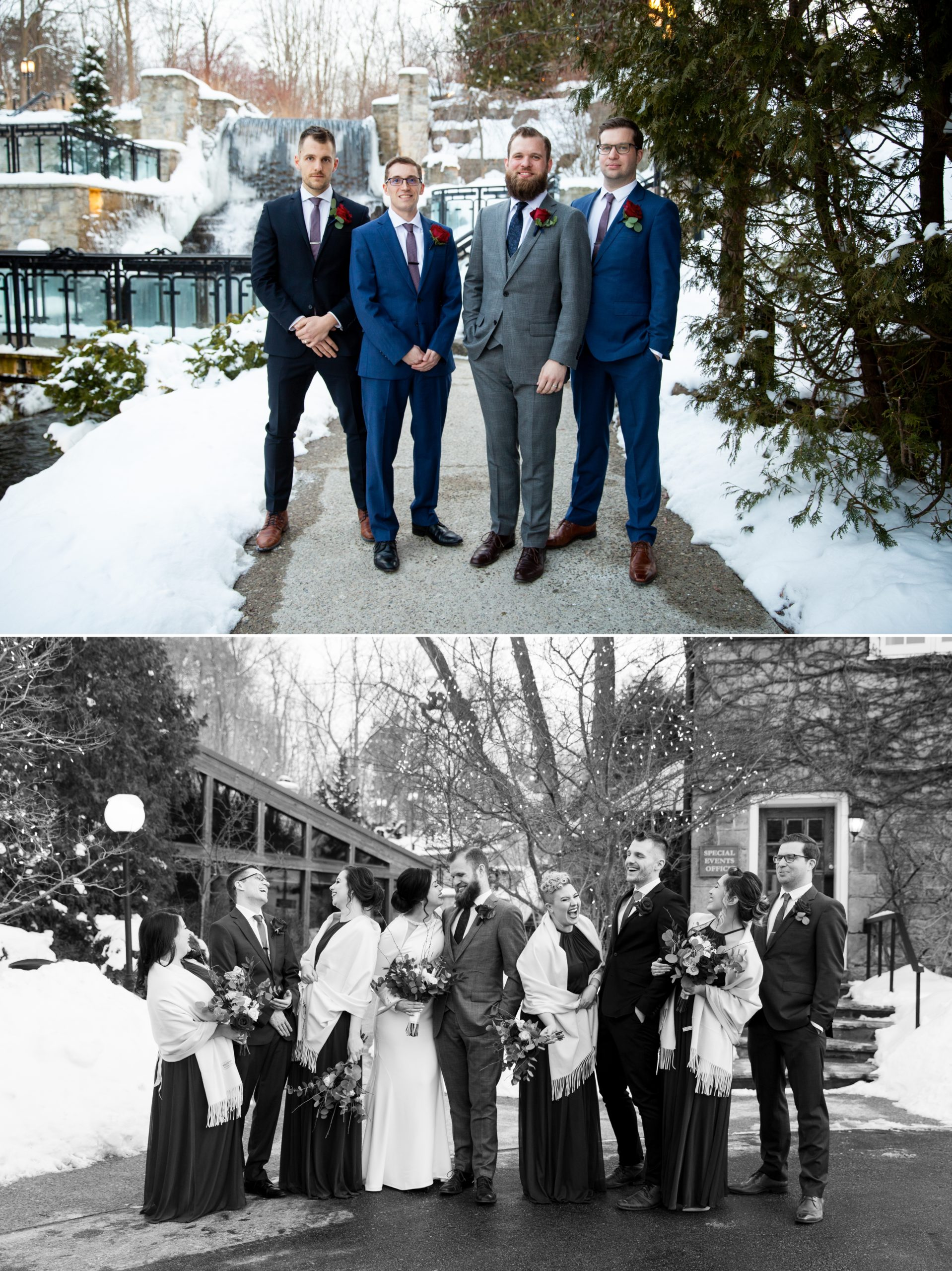Groomsmen Wedding Party Ancaster Mill Winter Ancaster, Hamilton, Zsuzsi Pal Photography