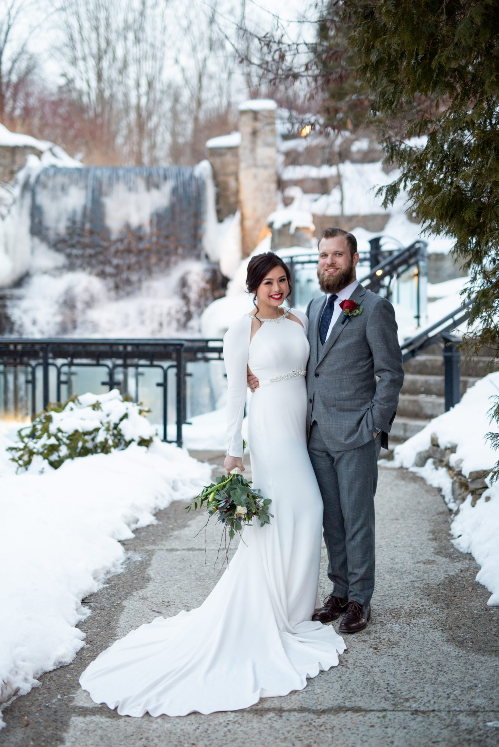 Bride Groom Ancaster Mill Winter Wedding, Ancaster, Hamilton, Zsuzsi Pal Photography