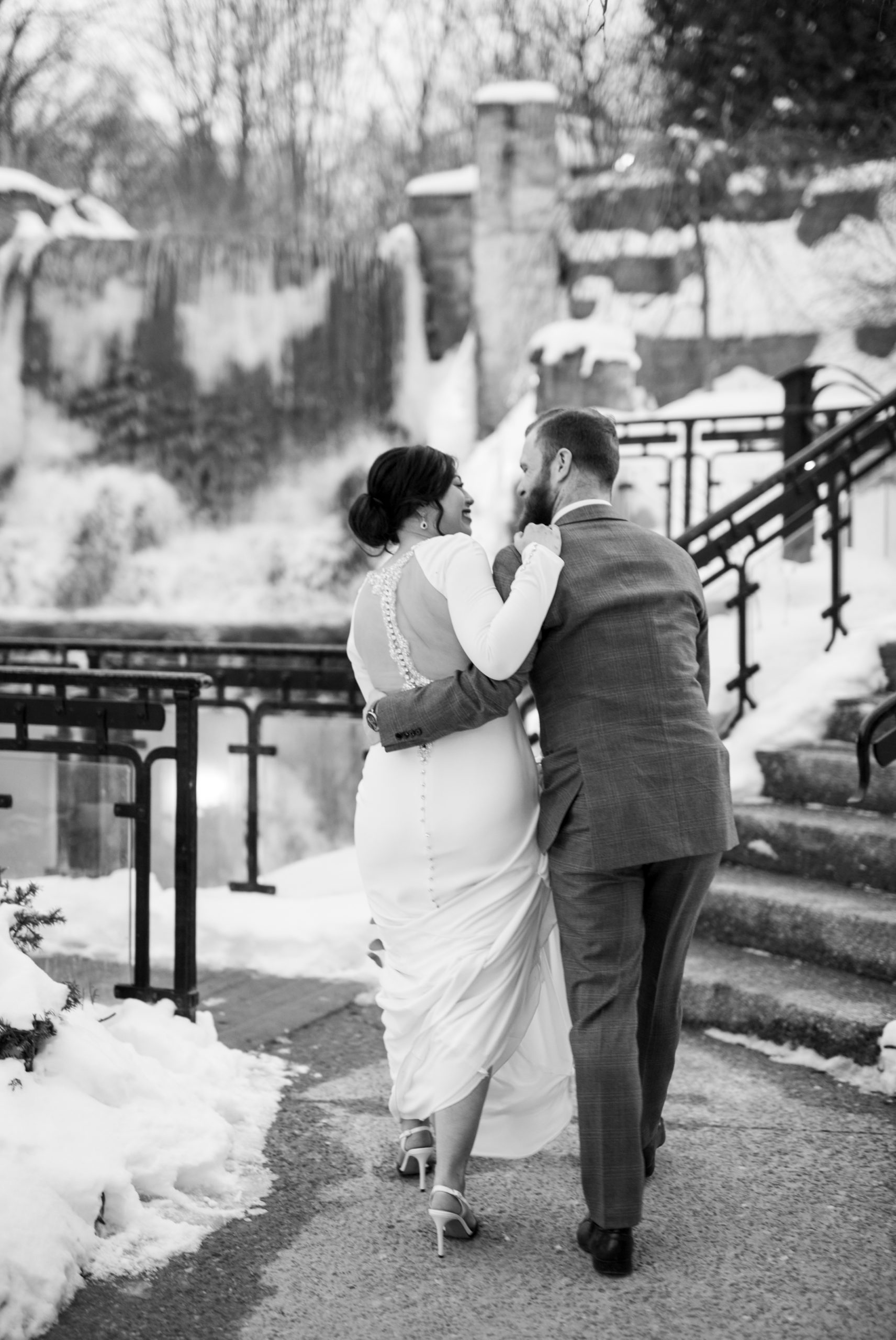 Black and White Portrait Ancaster Mill Winter Wedding, Ancaster, Hamilton, Zsuzsi Pal Photography