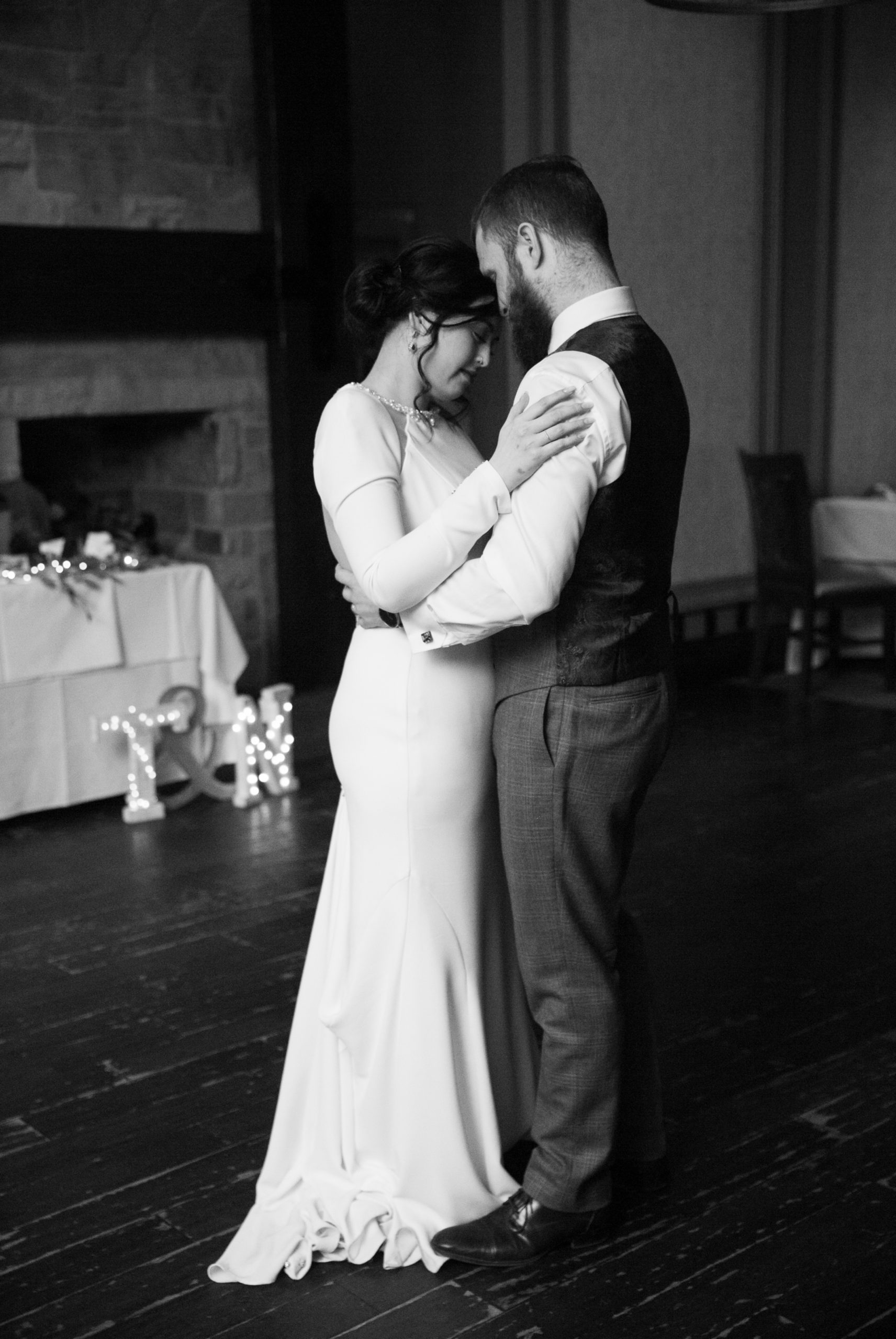 First Dance Black and WhiteAncaster Mill Winter Wedding, Ancaster, Hamilton, Zsuzsi Pal Photography