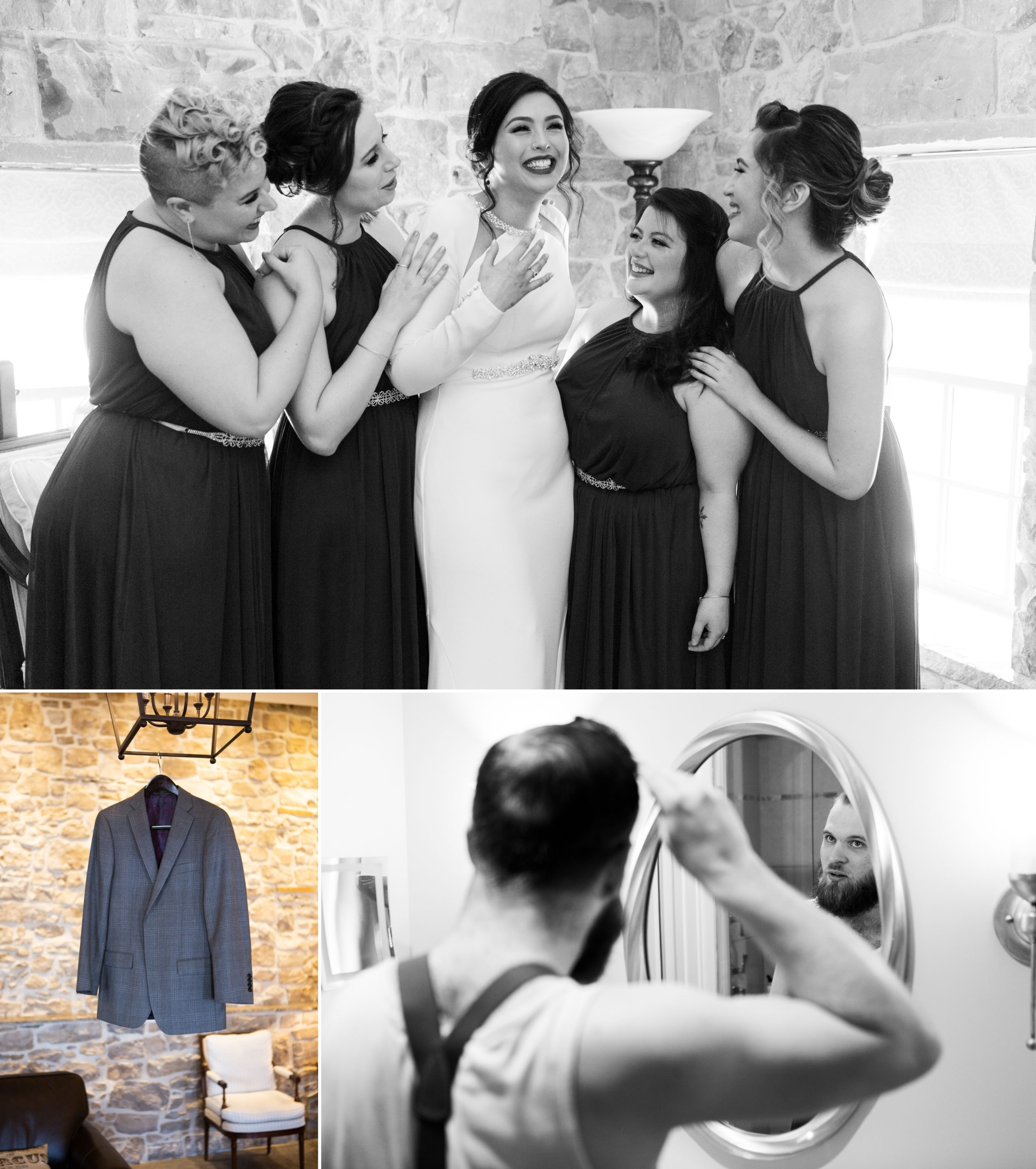 Bridesmaids Groom Winter Wedding, Ancaster, Hamilton, Zsuzsi Pal Photography
