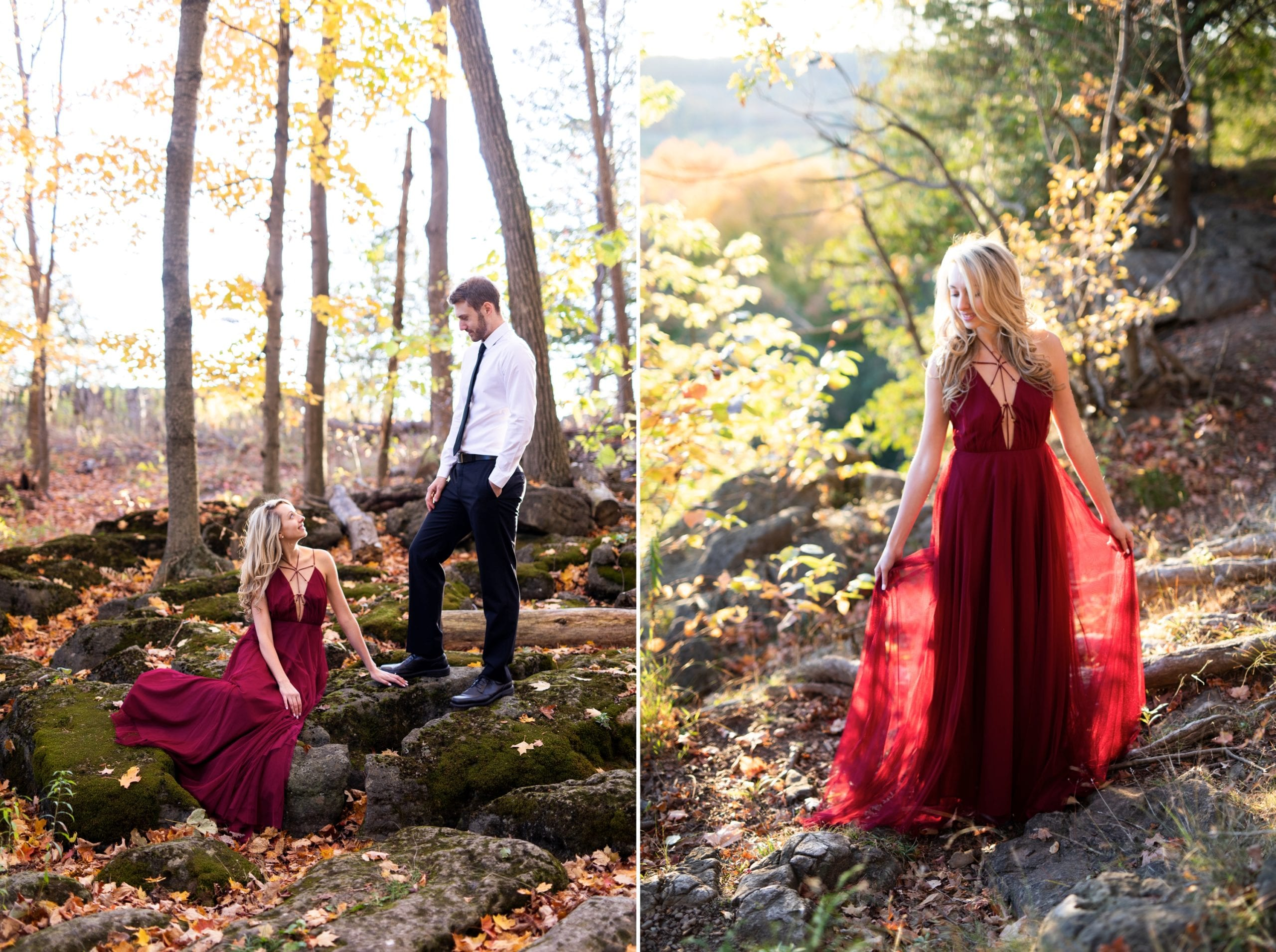 Fall Engagement Zsuzsi Pal Photography Toronto Burlington Red Dress